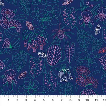 Glasshouse Navy by Emily Taylor for FIGO Fabrics