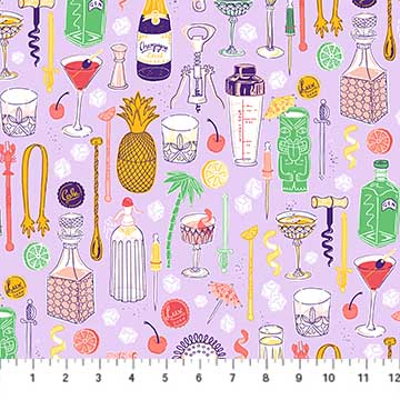 90255 80 Lilac Bar Ware CLINK! Figo Fabrics