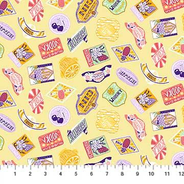 90256 50 Yellow Multi Labels CLINK! Figo Fabrics