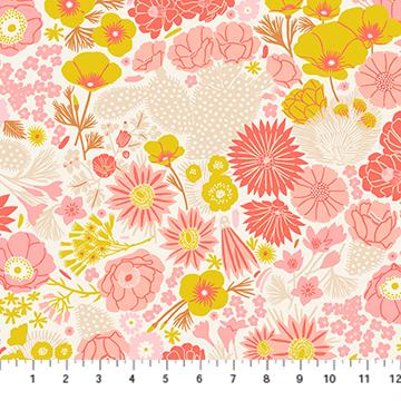 90275-11 Prickly Pear - Flowers - Beige