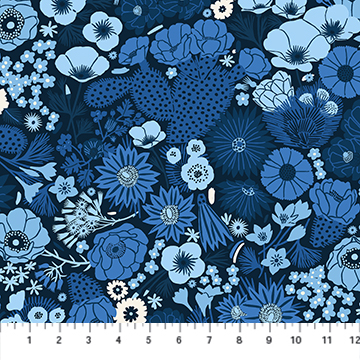 90275-49 Prickly Pear - Flowers - Navy