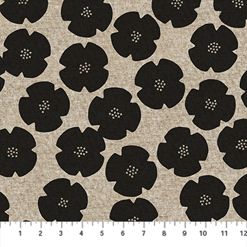 CL90304 99 Black Flowers LINEN Harmony FIGO