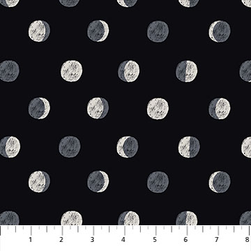 Celestial Moon Phases-Rayon-Black