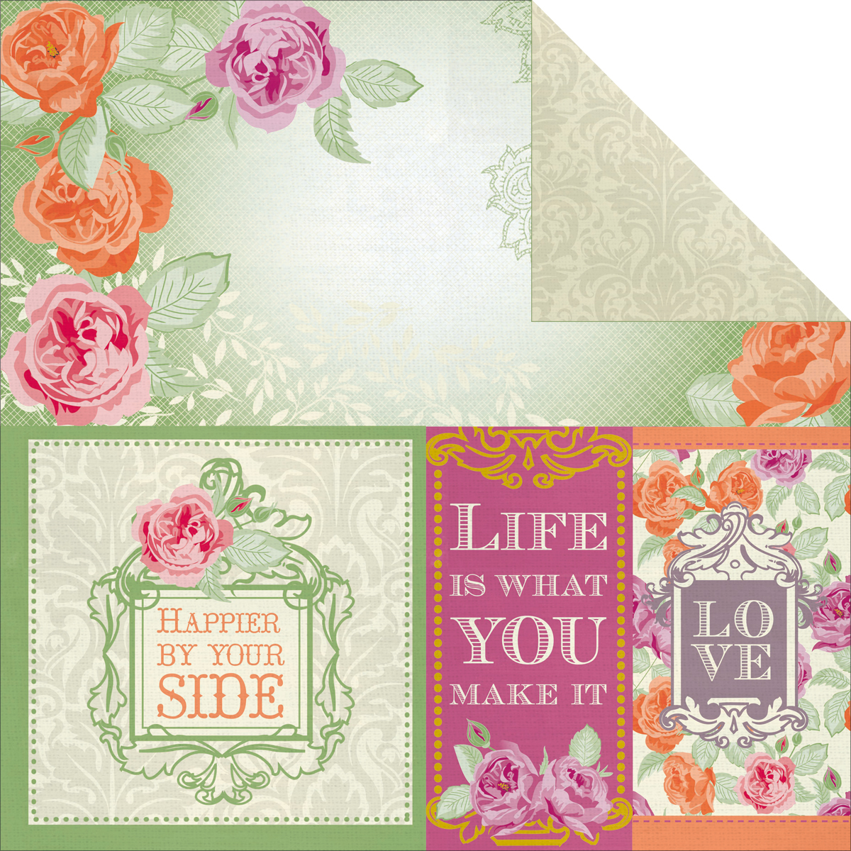 Flora Delight Double-Sided Paper 12X12-Happiness