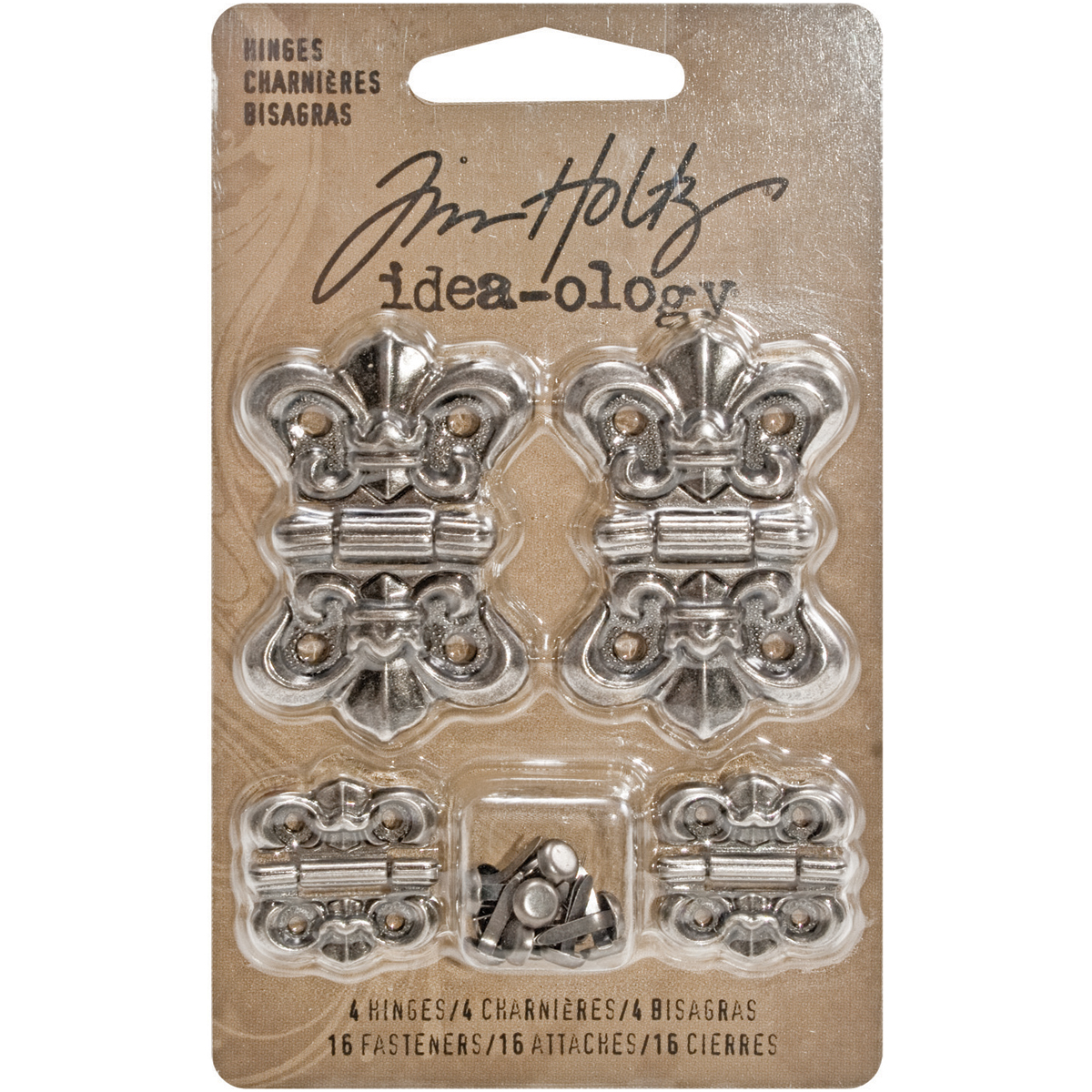 Tim Holtz Idea-Ology Metal Hinges W/Brads 4/Pkg-Antique Nickel W/16 Fasteners