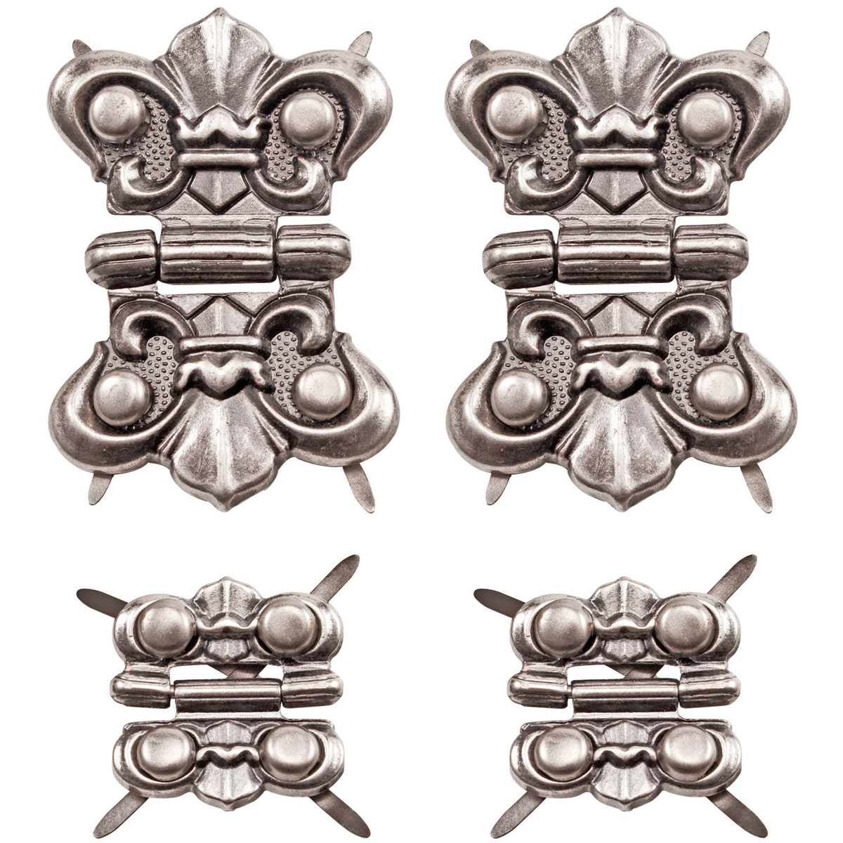 Idea-Ology Metal Hinges W/Brads 4/Pkg-Antique Nickel W/16 Fasteners