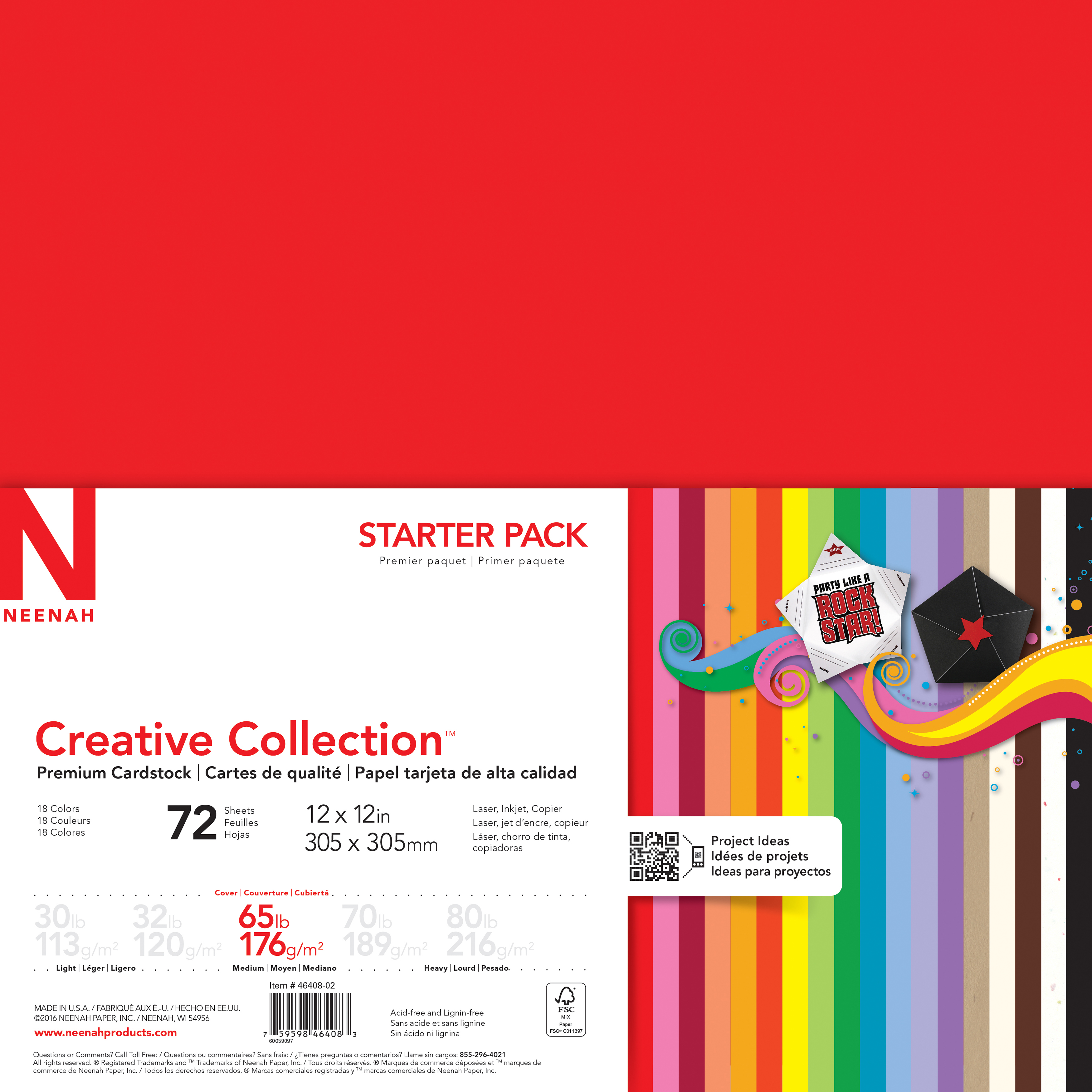 Neenah Creative Collection Cardstock Pack 12X12 72/Pkg-18 Bold & Vivid Colors