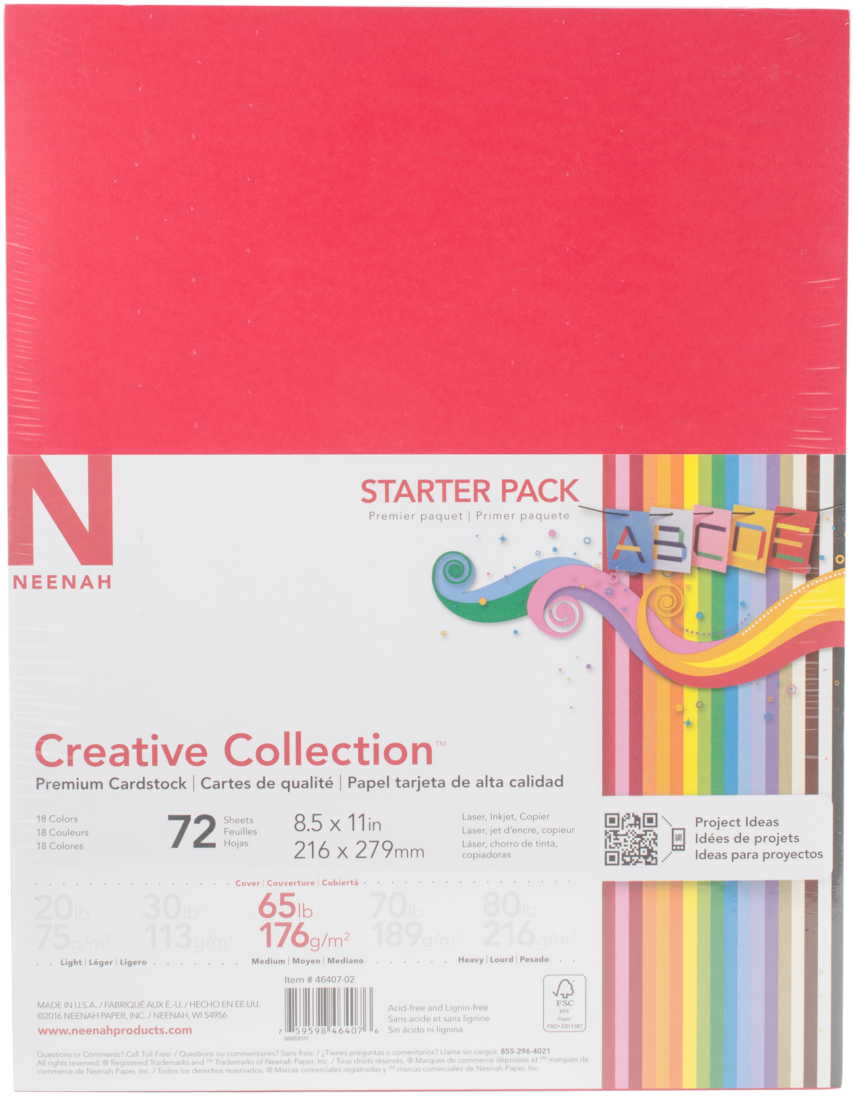 Neenah Creative Collection Cardstock Pack 8.5X11 72/Pkg-18 Bold & Vivid Colors