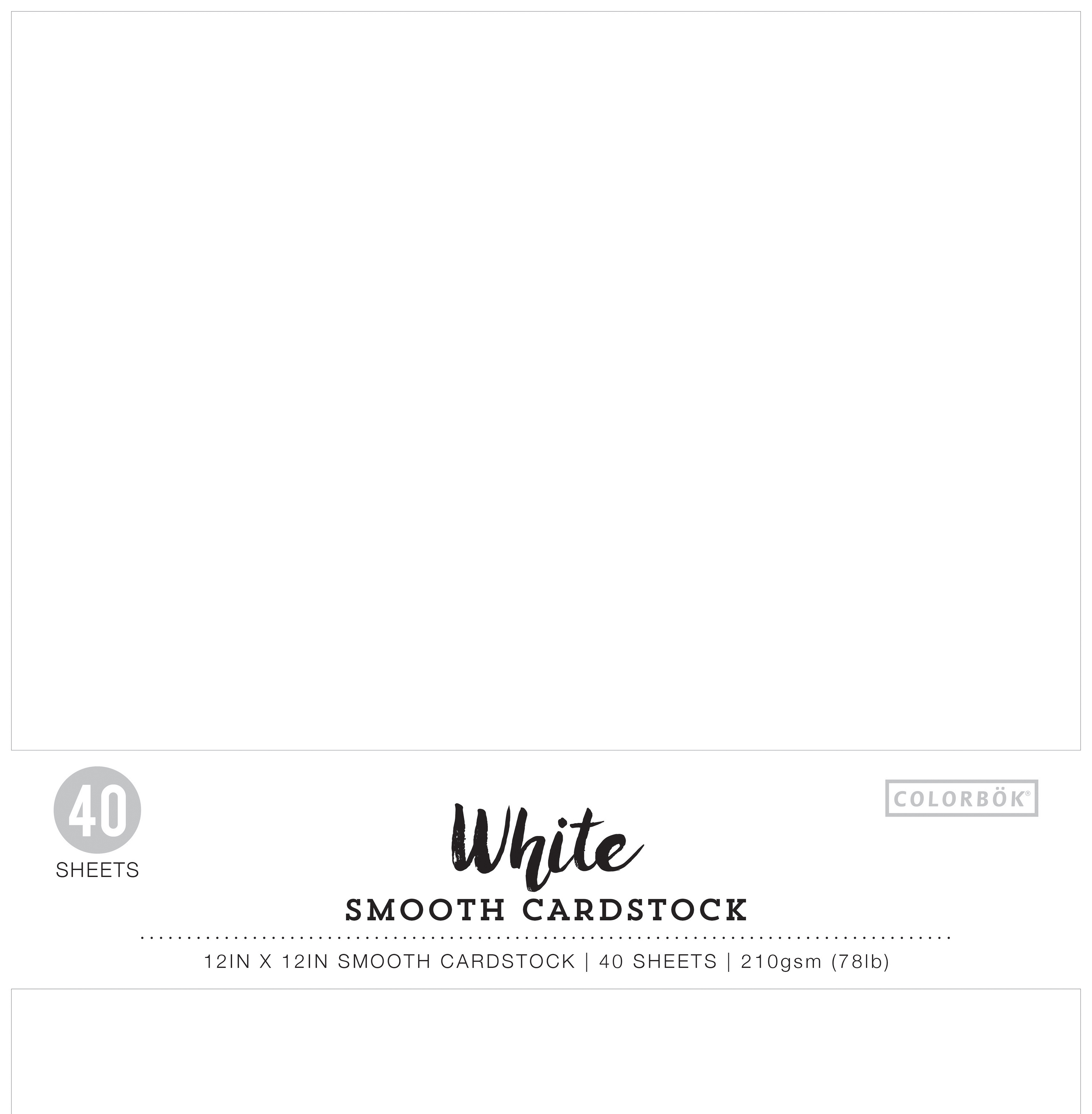 Colorbok 78lb Smooth Cardstock 12X12 40/Pkg-White