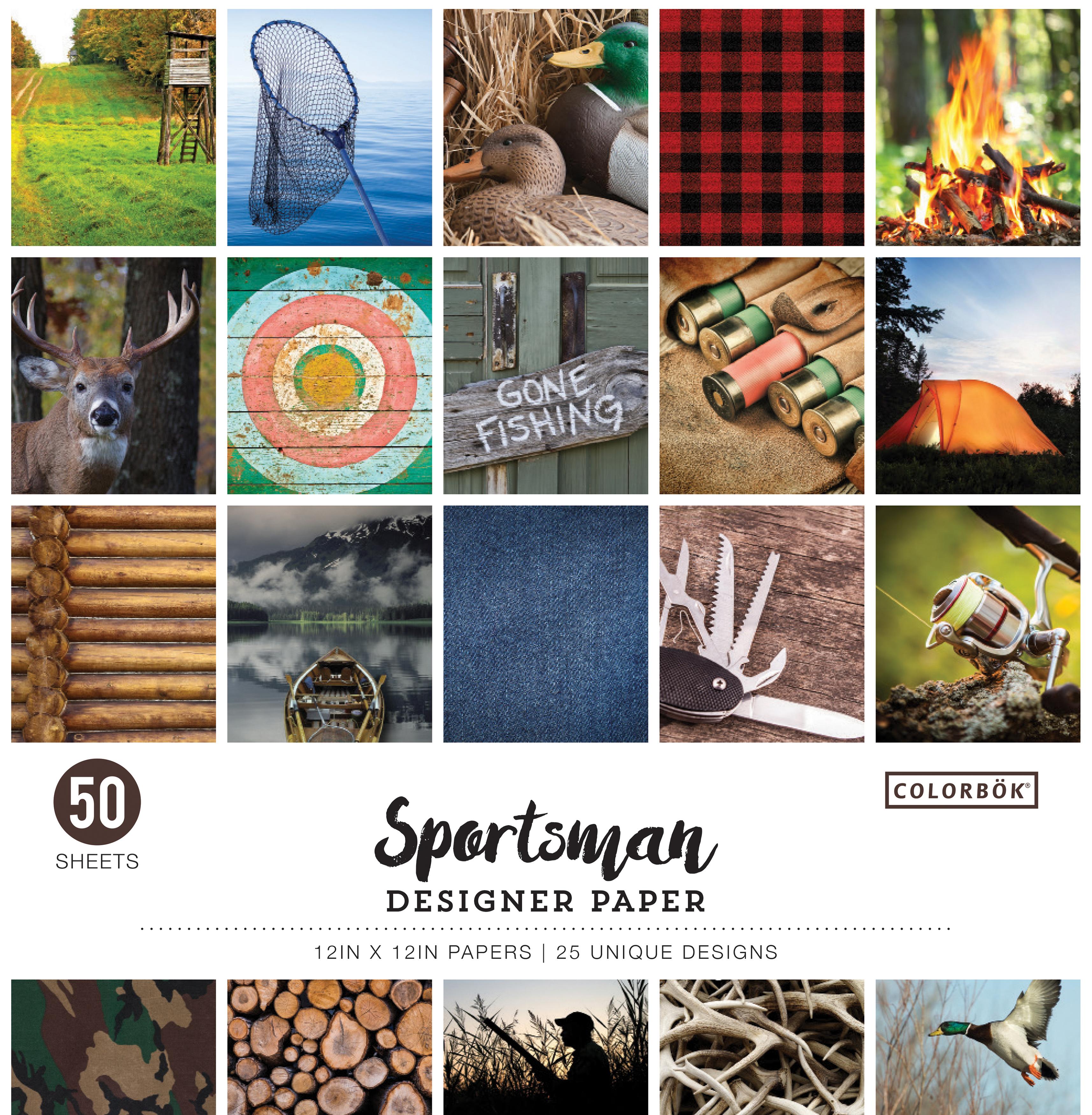 Colorbok 68lb Designer Single-Sided Paper 12X12 50/Pkg-Sportsman, 25 Designs/2...