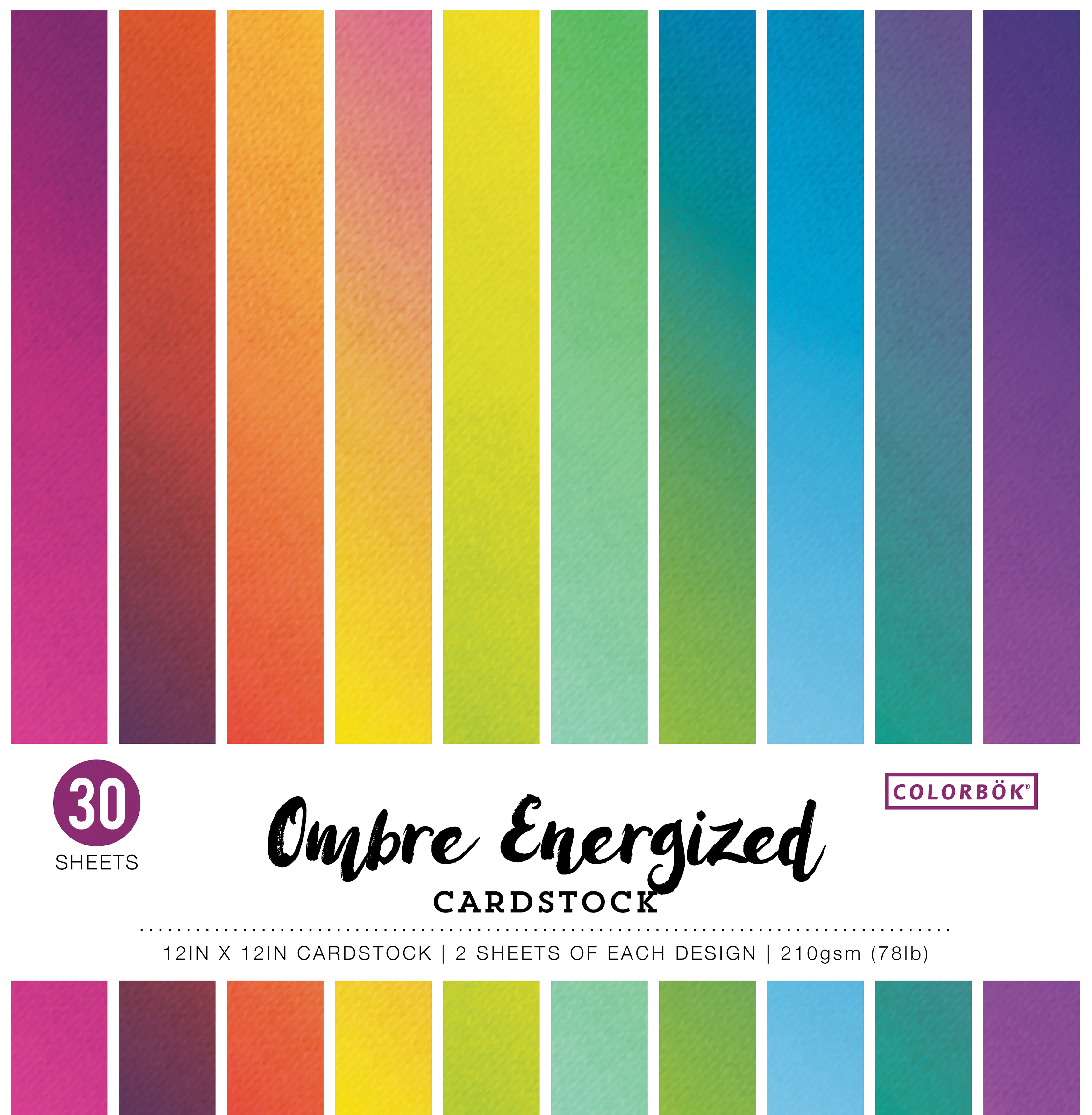 Colorbok 78lb Single-Sided Printed Cardstock 12X12 30/Pkg-Ombre Energized, 15 ...