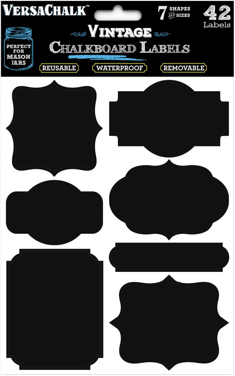 VersaChalk Vintage Chalkboard Sticker Labels W/Marker 42/Pkg-Black
