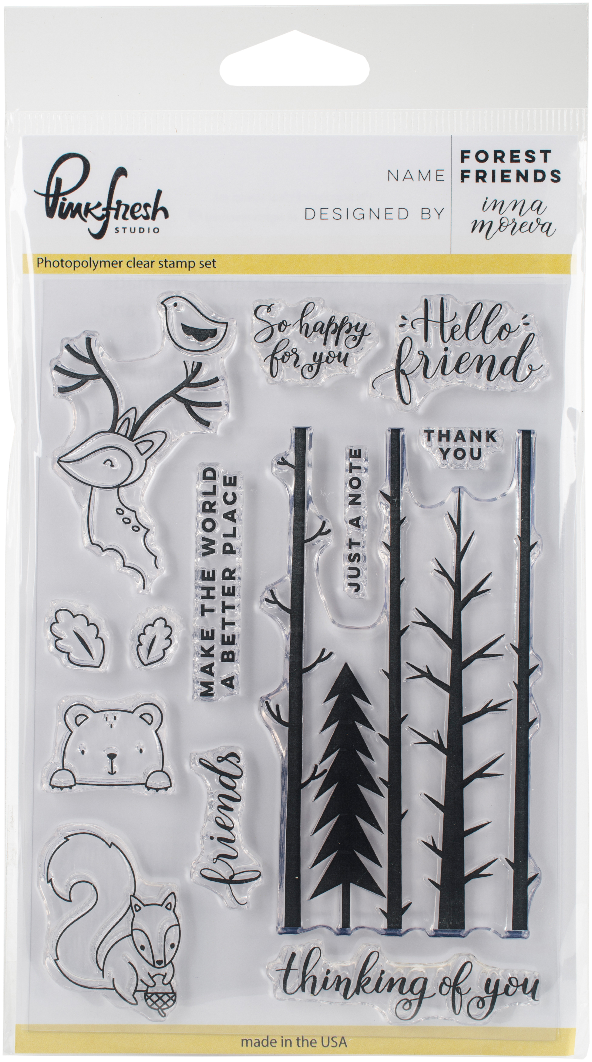 Pinkfresh Studio Clear Stamp Set 4X6-Forest Friends