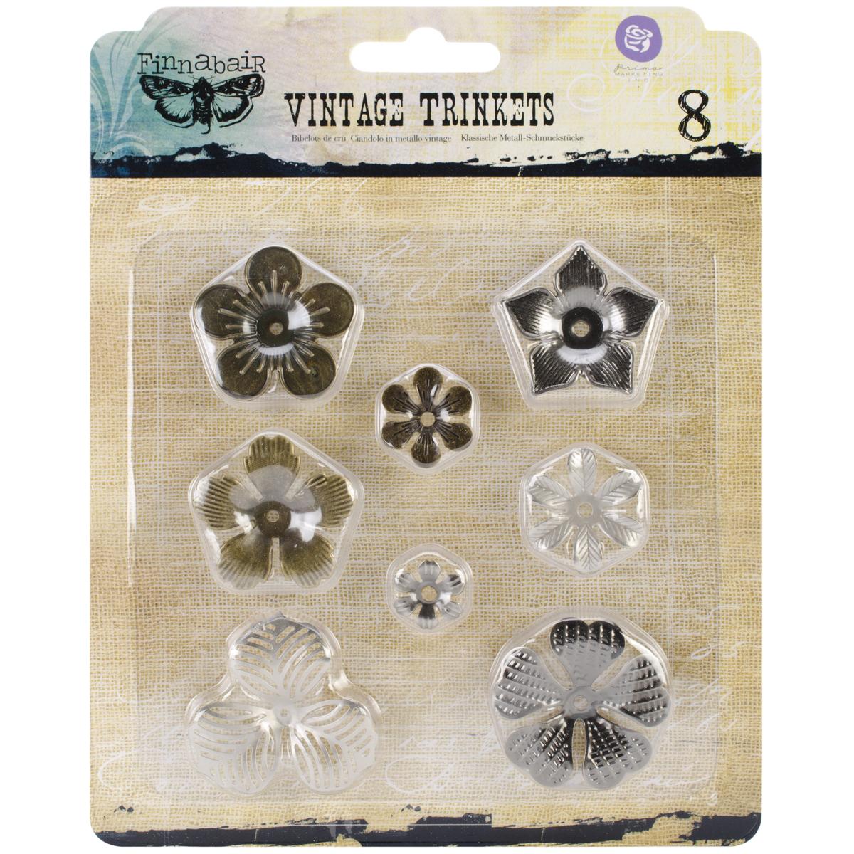 Finnabair Vintage Mechanicals Metal Trinkets-Mini Flowers .5 To 1, 8/Pkg