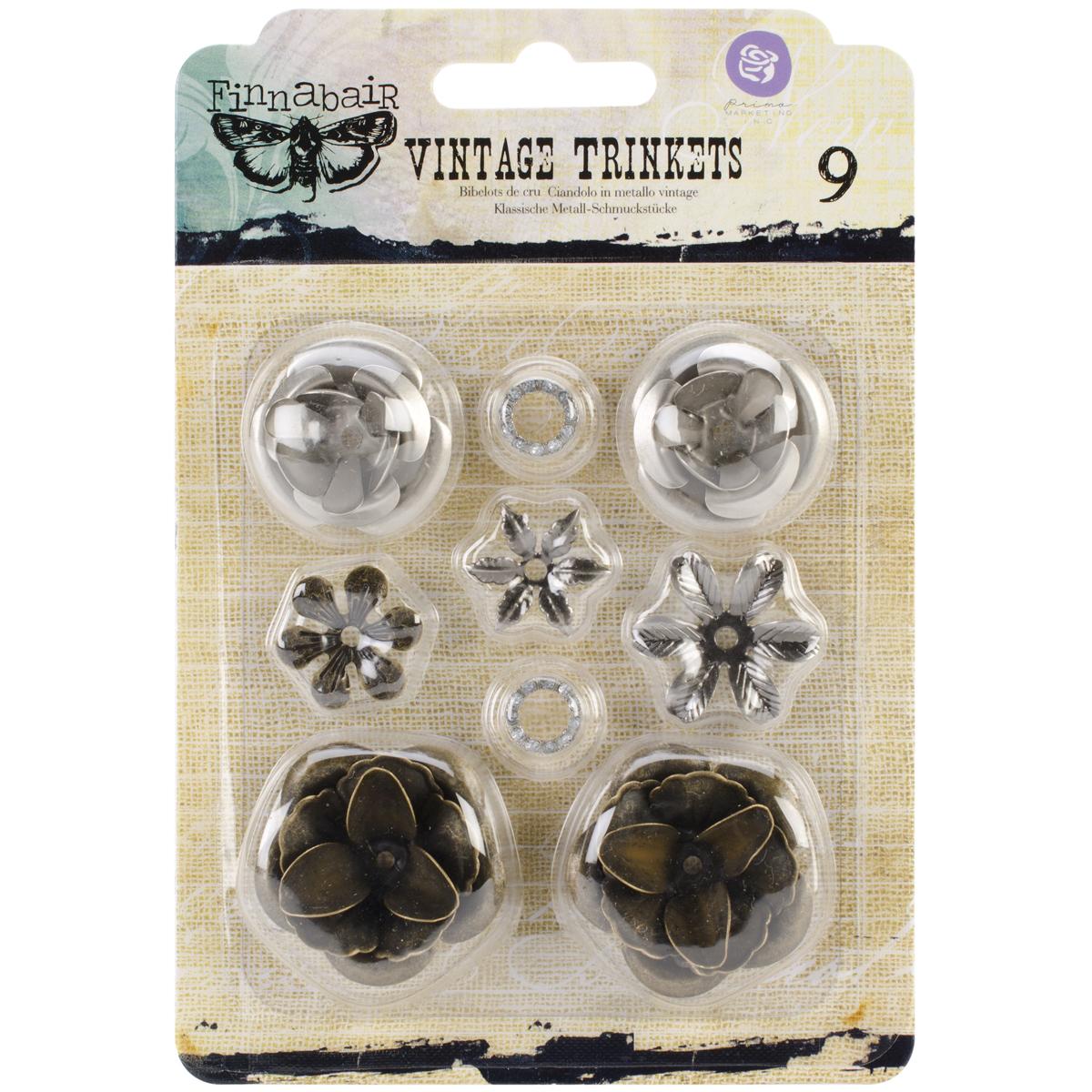 Finnabair Vintage Mechanicals Metal Trinkets-Roses .5 To 1, 9/Pkg