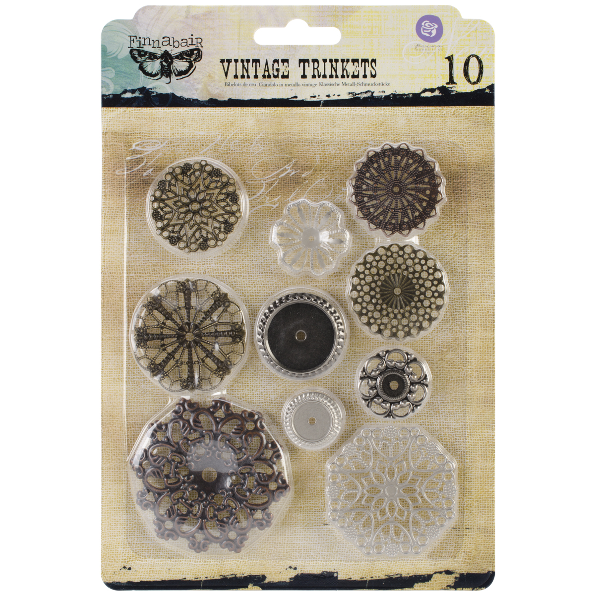 Sunrise Sunset Mechanicals Metal Vintage Trinkets-Flowers Small 1, 10/Pkg