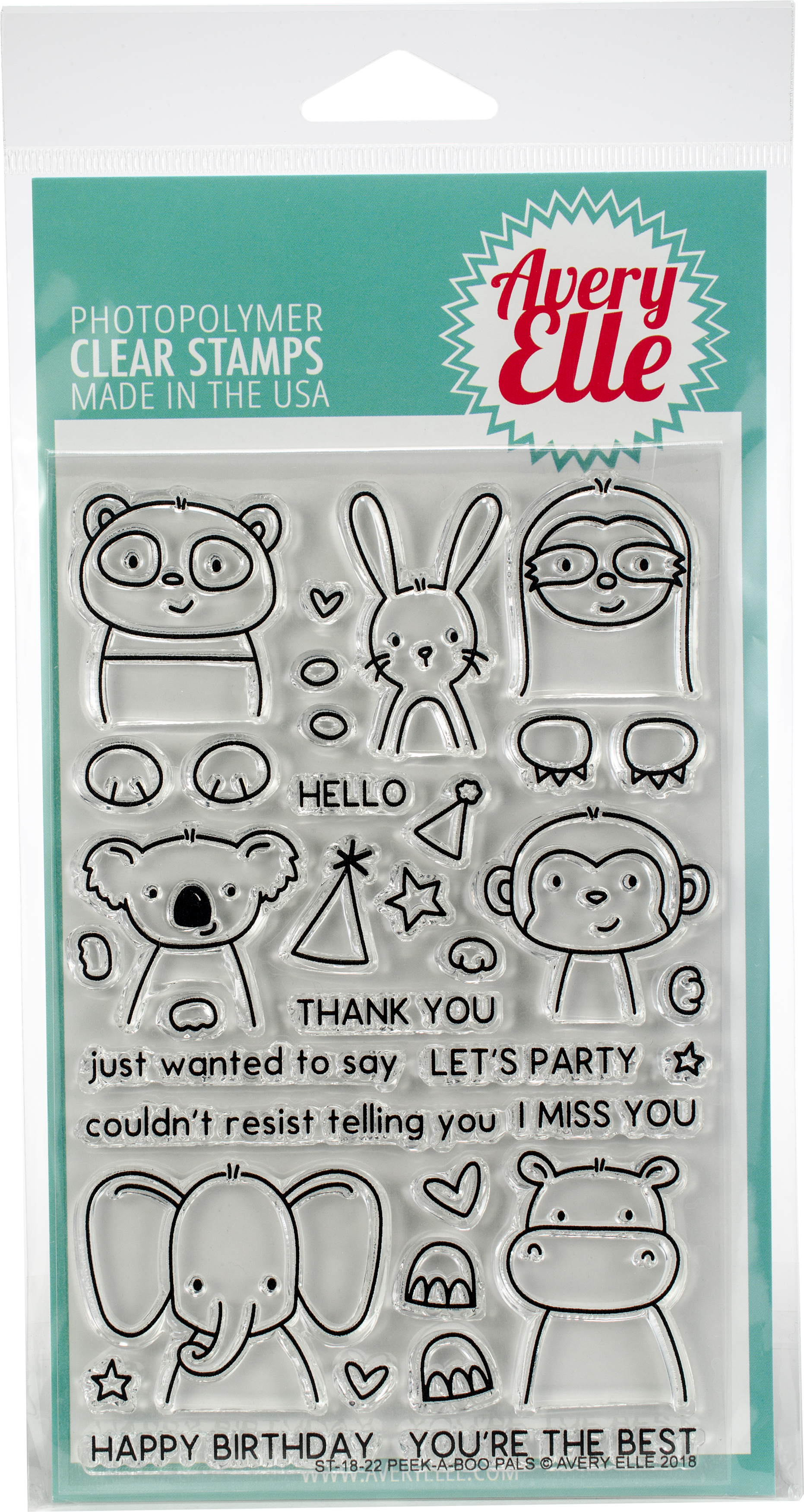 Avery Elle Clear Stamp Set 4X6-Peek-A-Boo Pals