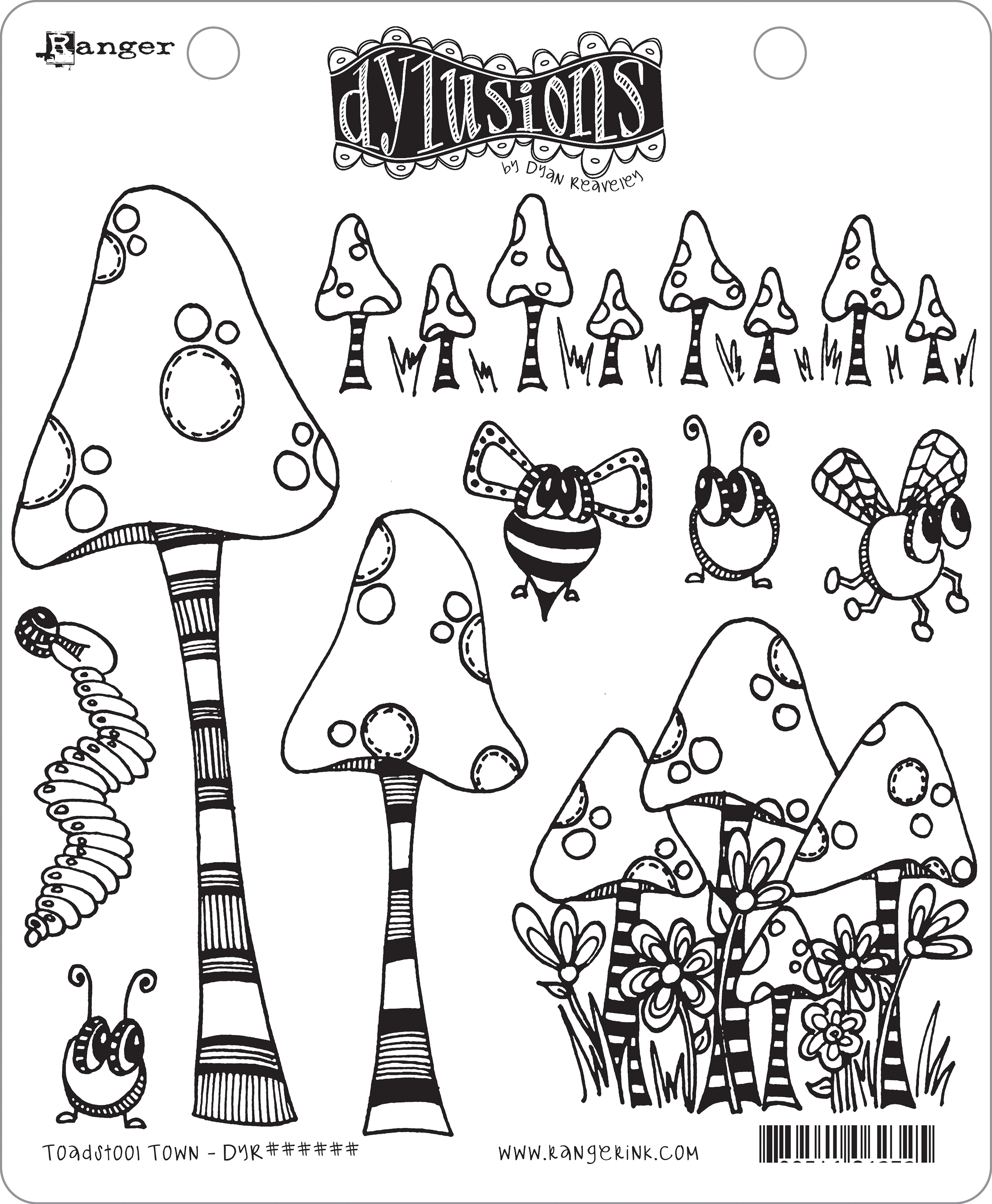 Dyan Reaveley's Dylusions Cling Stamp Collections 8.5X7-Toadstool Town
