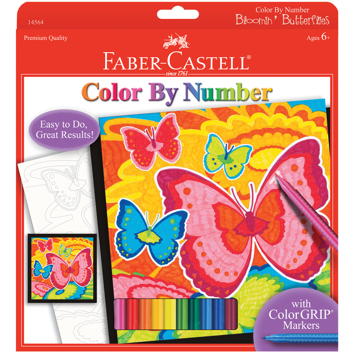 Color By Number Kit 9X9-Bloomin' Butterflies