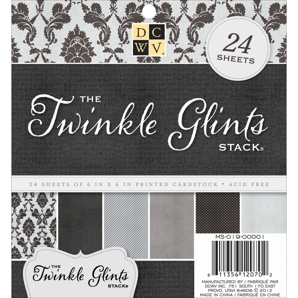 DCWV Single-Sided Cardstock Stack 6X6 24/Pkg-Twinkle Glints, 6 Designs/4 Each