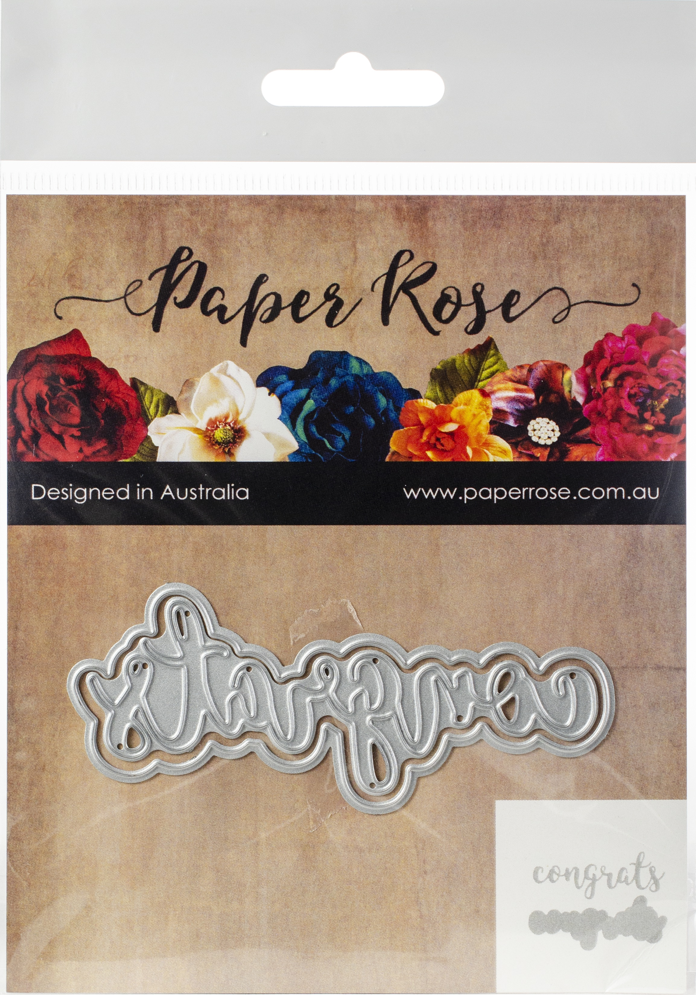 Paper Rose Dies-Congrats -Layered