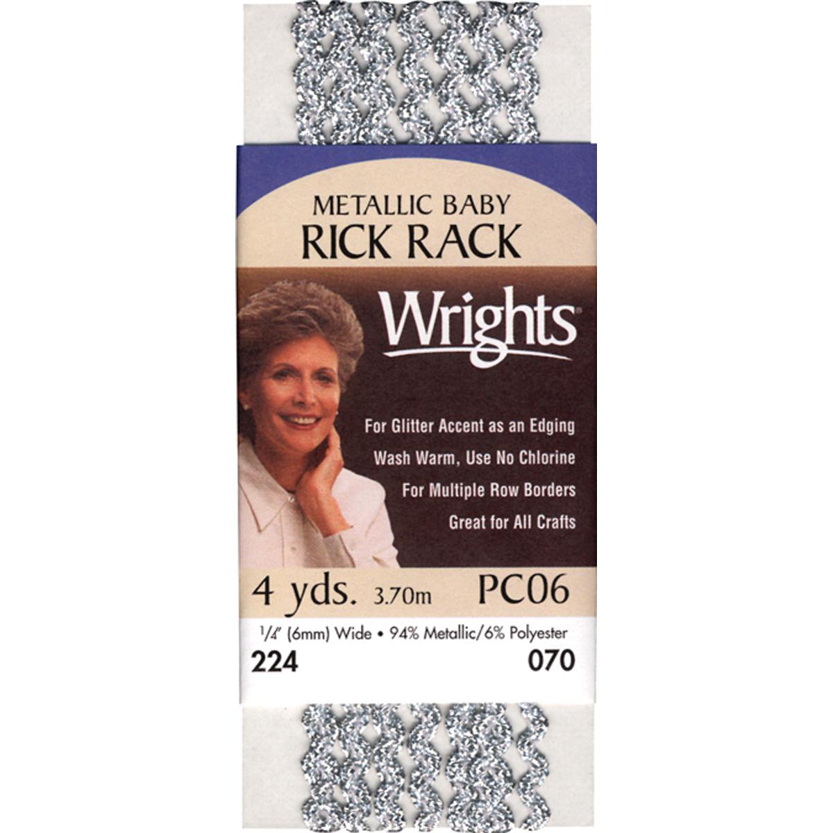 Wrights Baby Metallic Rickrack .25X4yd-Gold