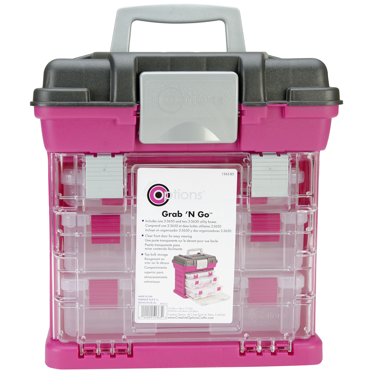 Creative Options Grab'n Go 3-By Rack System-13X10X14 Magenta & Sparkle Gray