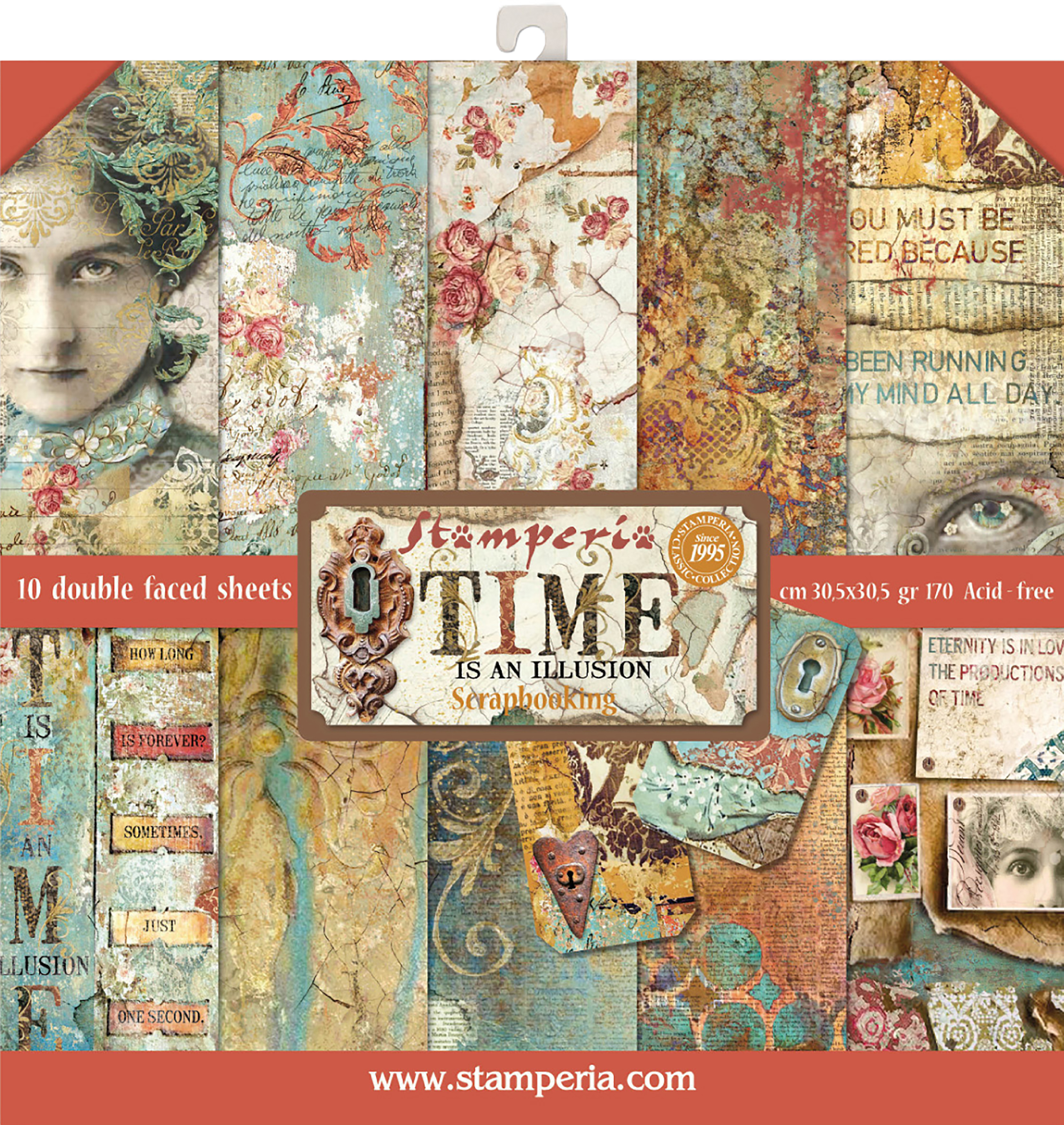 Stamperia Double-Sided Paper Pad 12X12 10/Pkg-Time Is An Illusion, 10 Designs/...