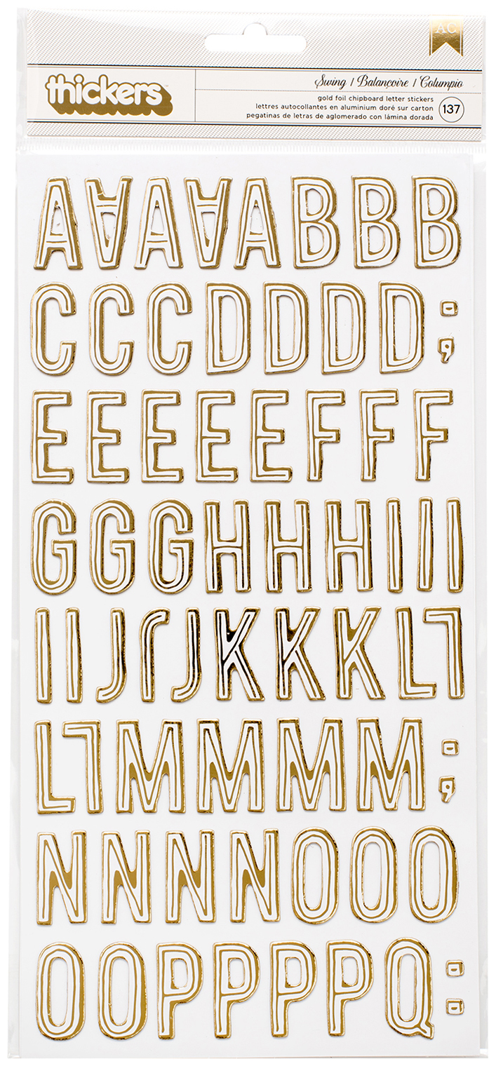 Maggie Holmes Carousel Thickers Stickers 137/Pkg-Swing Alphabet/Gold Foiled Chip...