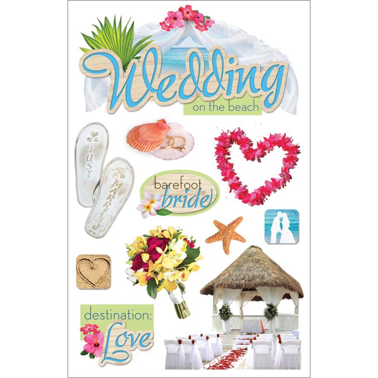 Paper House 3D Stickers 4.5X7.5 -Beach Wedding