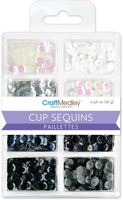 Cup Sequins 7mm .56oz-Black & White Classic