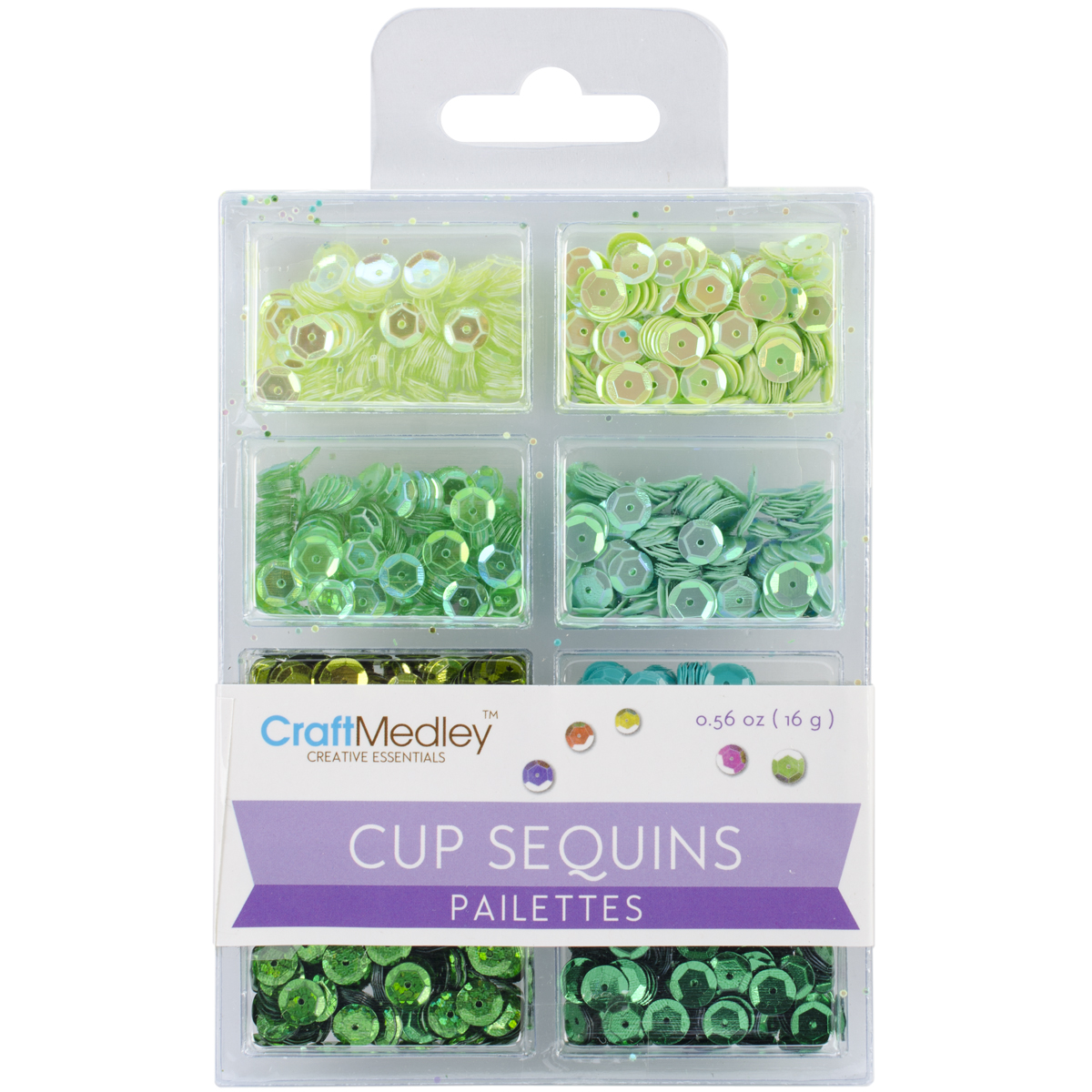 Cup Sequins 7mm .56oz-Go Green