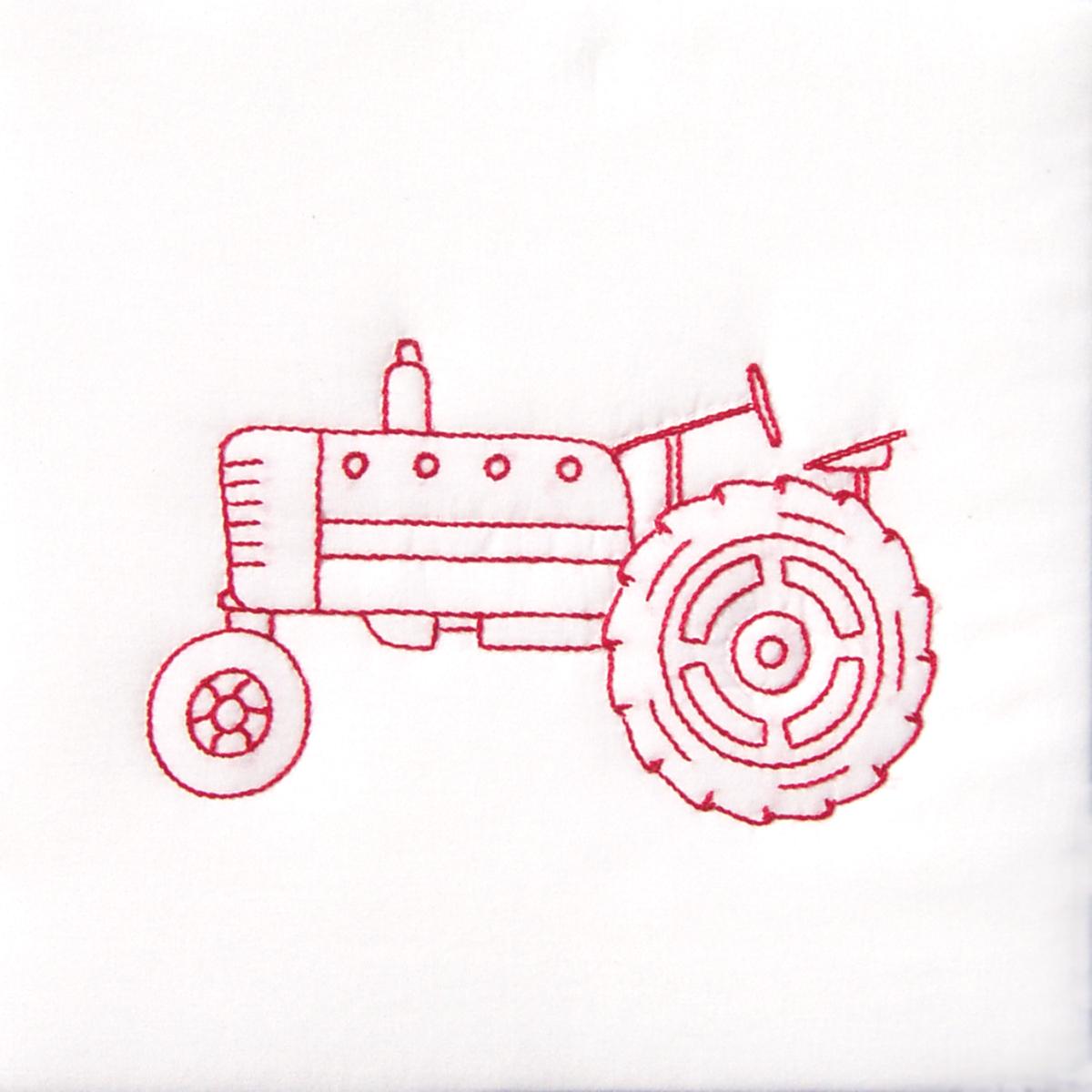 Jack Dempsey Stamped White Quilt Blocks 9X9 12/Pkg-Old Tractor
