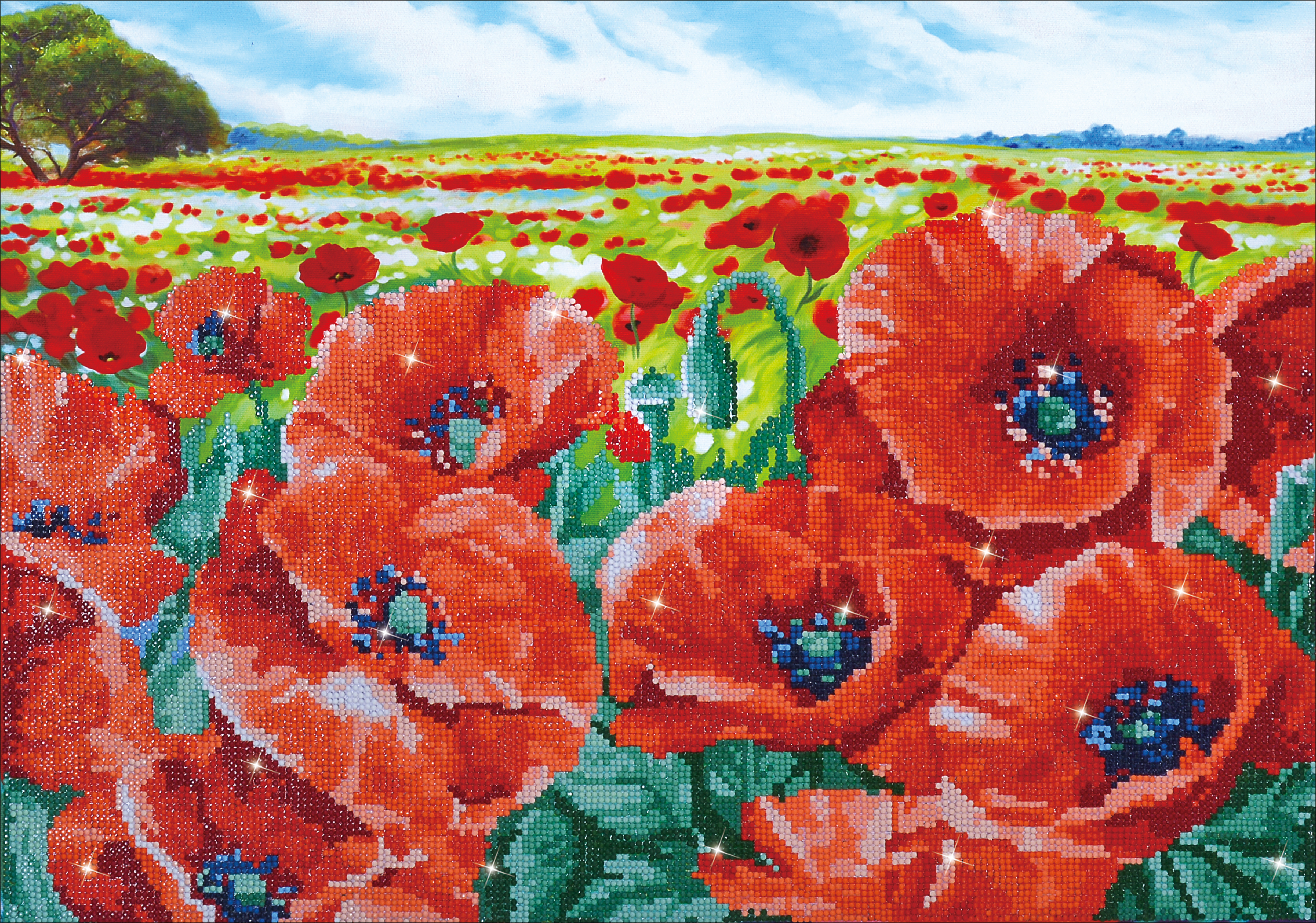 Diamond Dotz Diamond Embroidery Facet Art Kit 26.75X19.75-Red Poppy Field