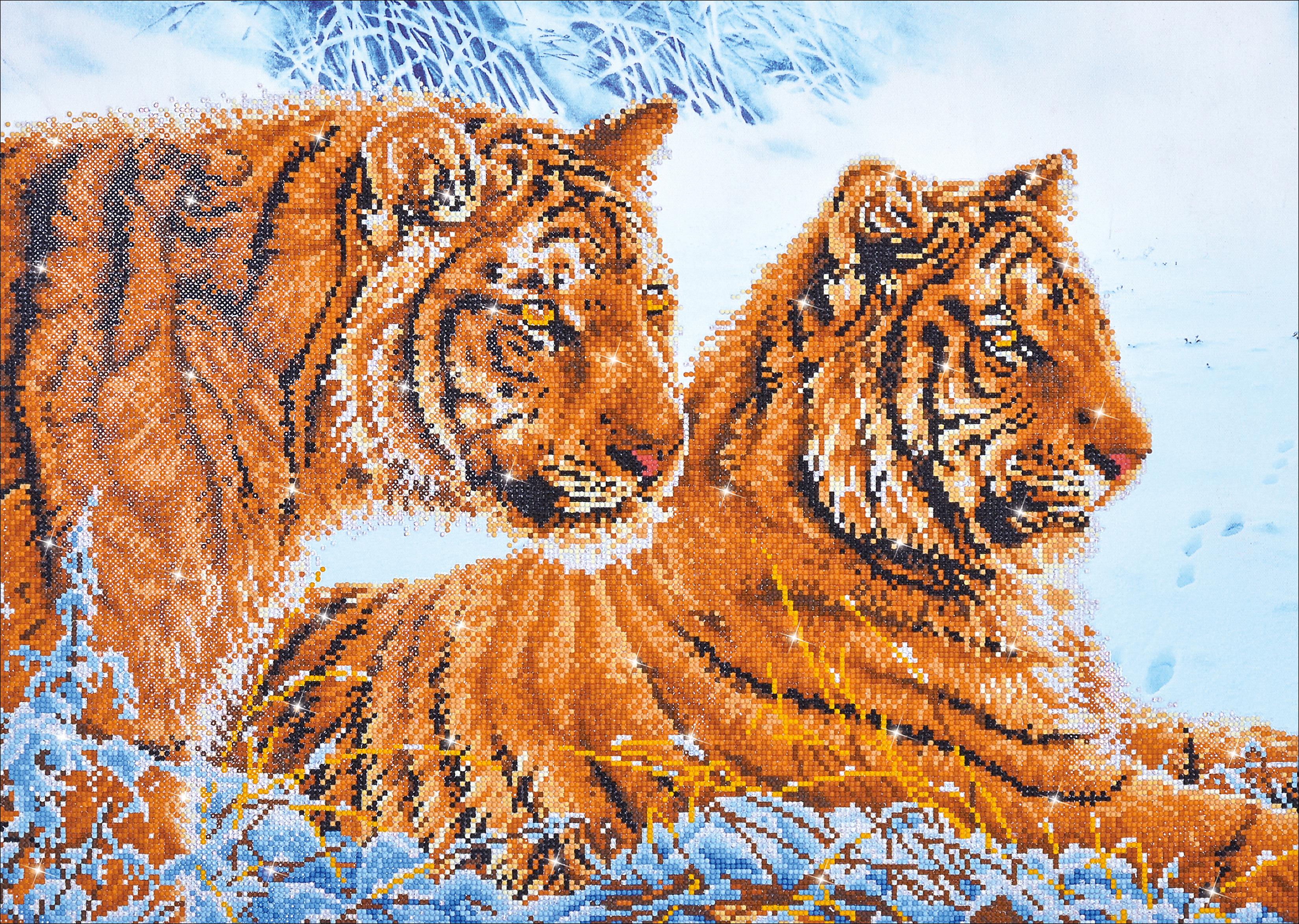 Diamond Dotz Diamond Embroidery Facet Art Kit 31.75X23.5-Tigers In The Snow