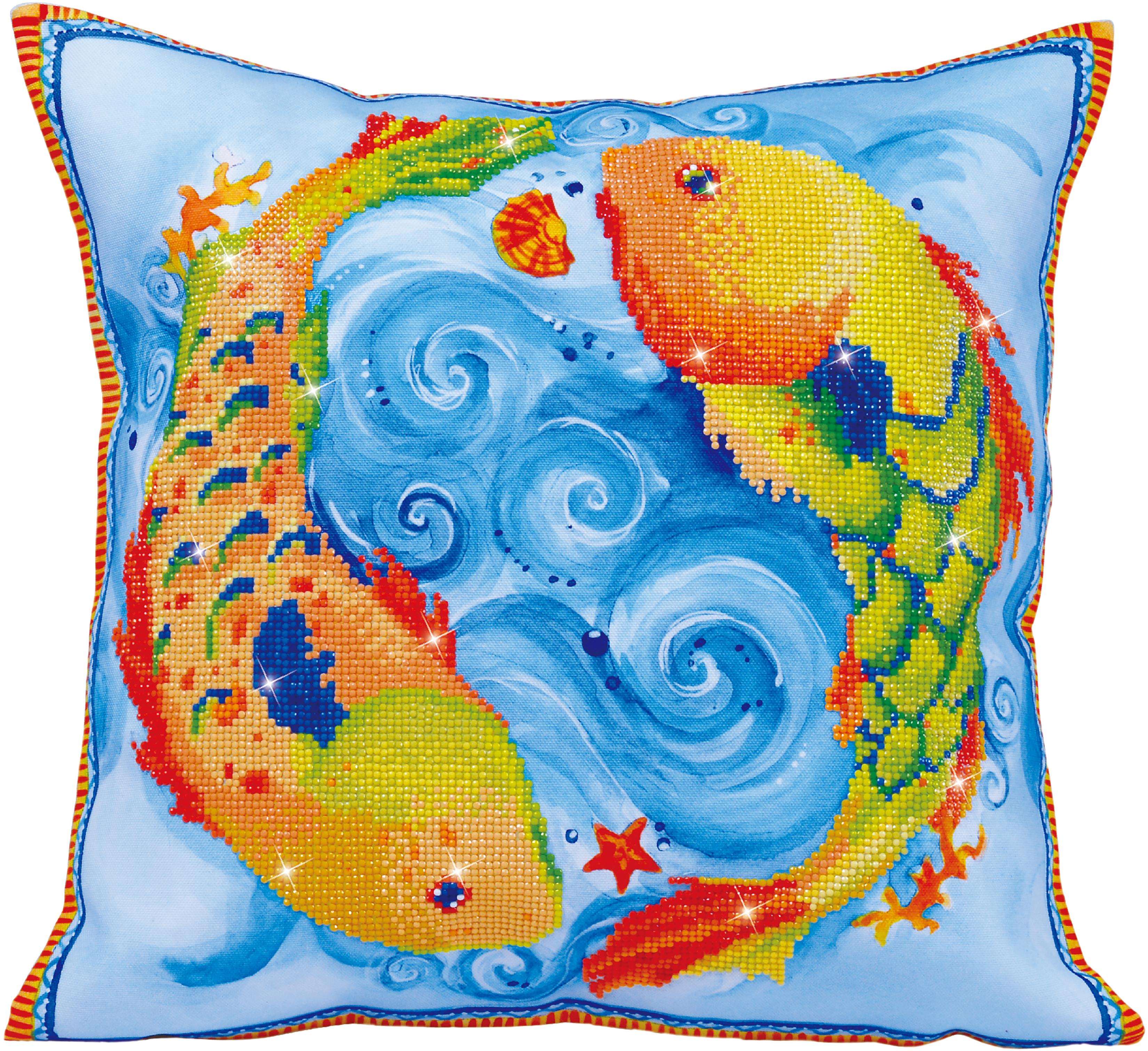 Diamond Dotz Diamond Embroidery Pillow Facet Art Kit-Dancing Fish (17.5X17.5)