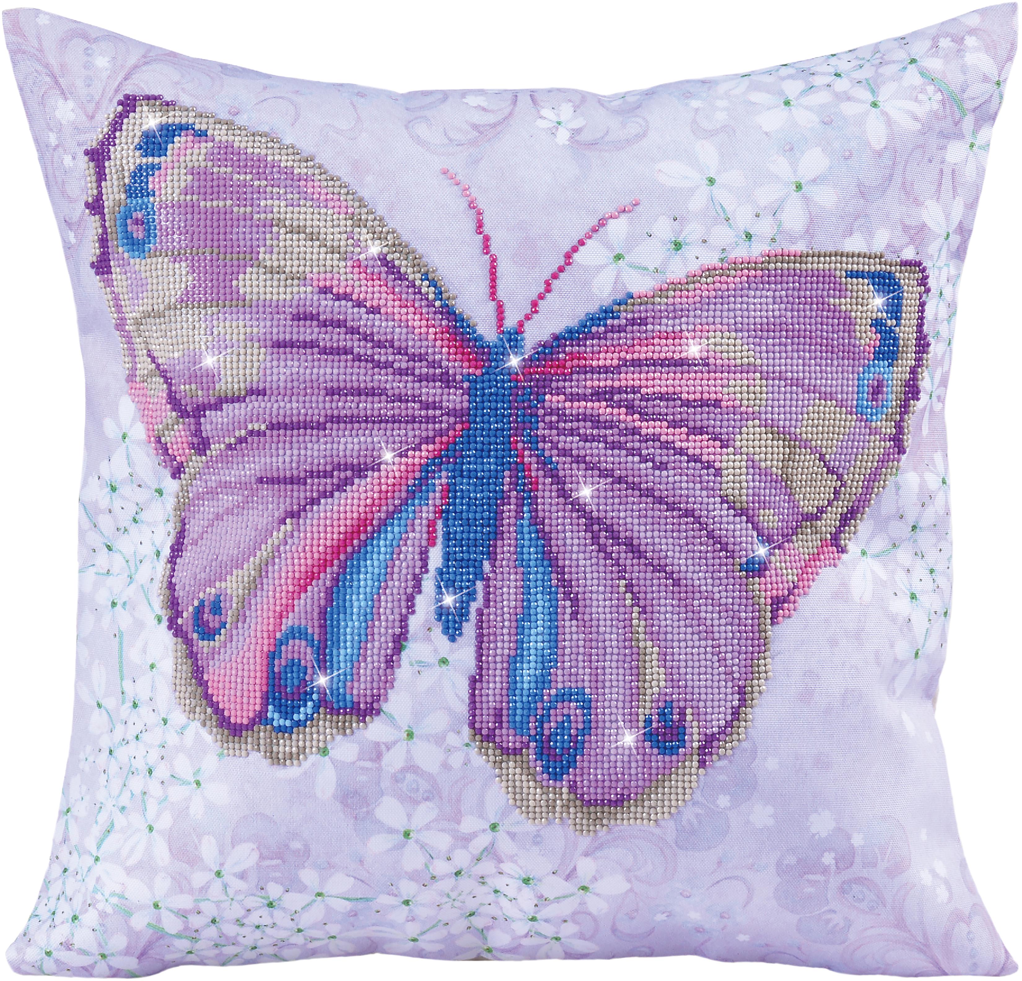 Diamond Dotz Diamond Embroidery Pillow Facet Art Kit-Mauve Flutter 17.5X17.5