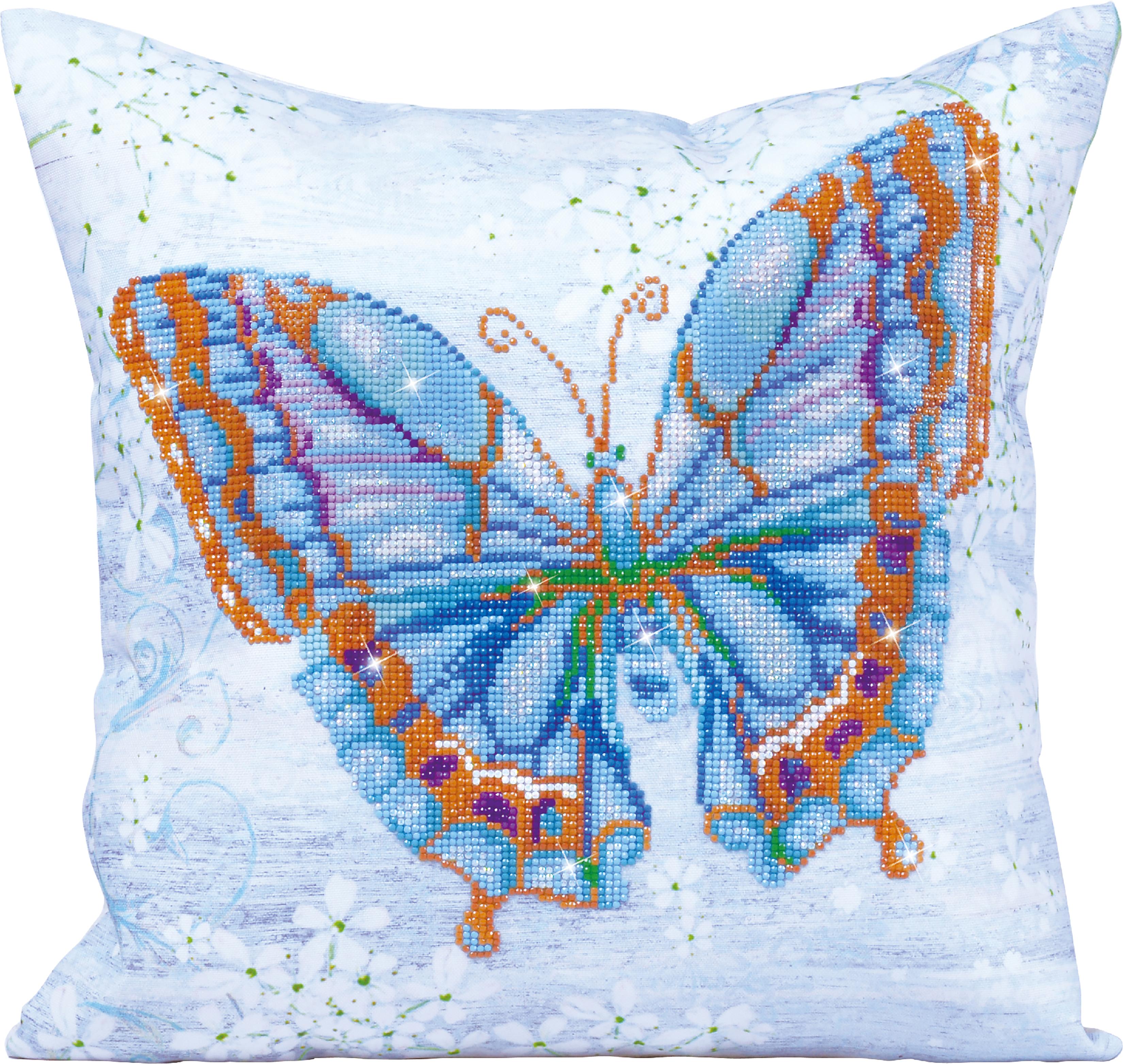 Diamond Dotz Diamond Embroidery Pillow Facet Art Kit-Blue Flutter 17.5X17.5