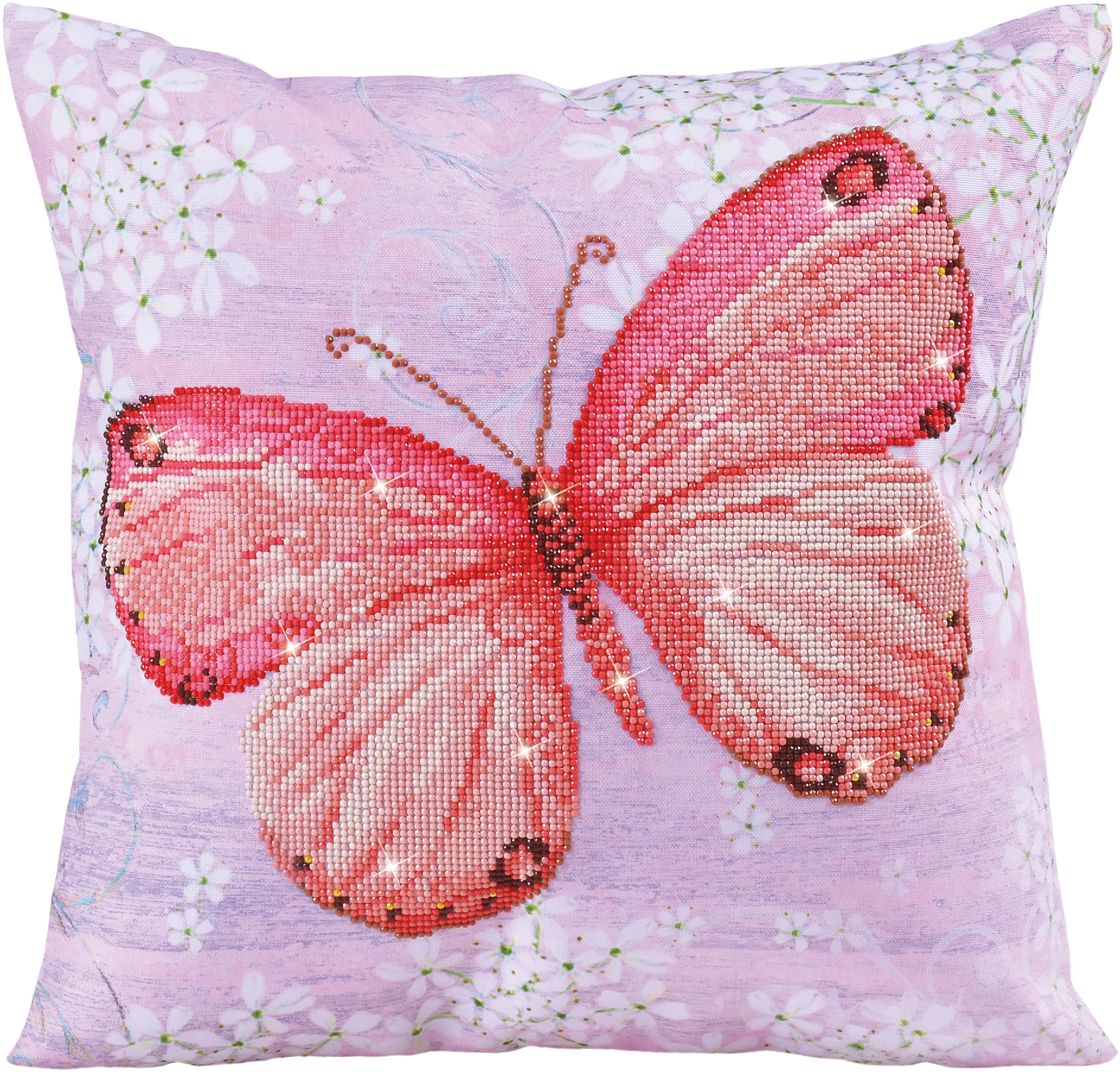 Diamond Dotz Diamond Embroidery Pillow Facet Art Kit-Pink Flutter (17.5X17.5)