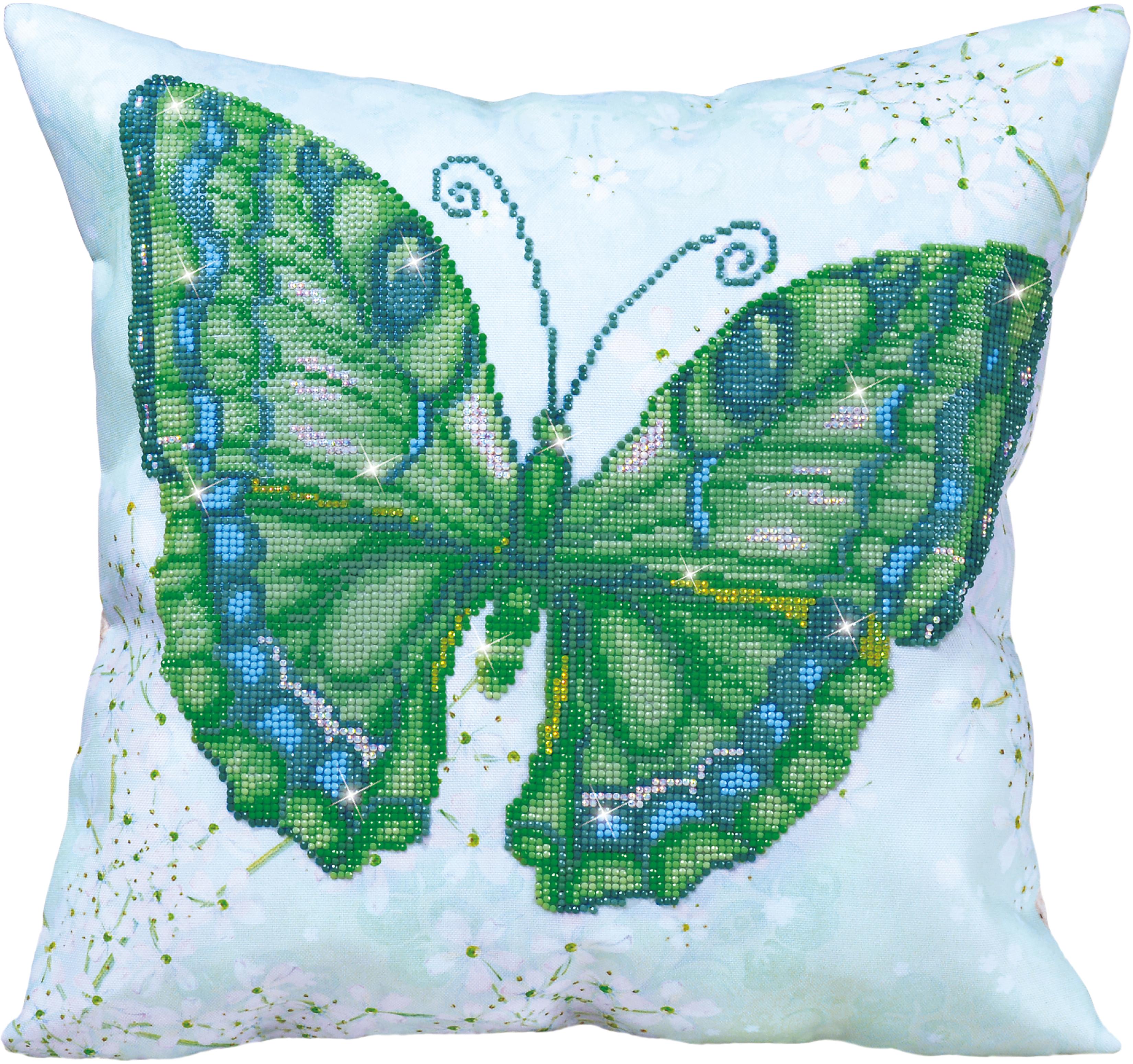 Diamond Dotz Diamond Embroidery Pillow Facet Art Kit-Green Flutter 17.5X17.5