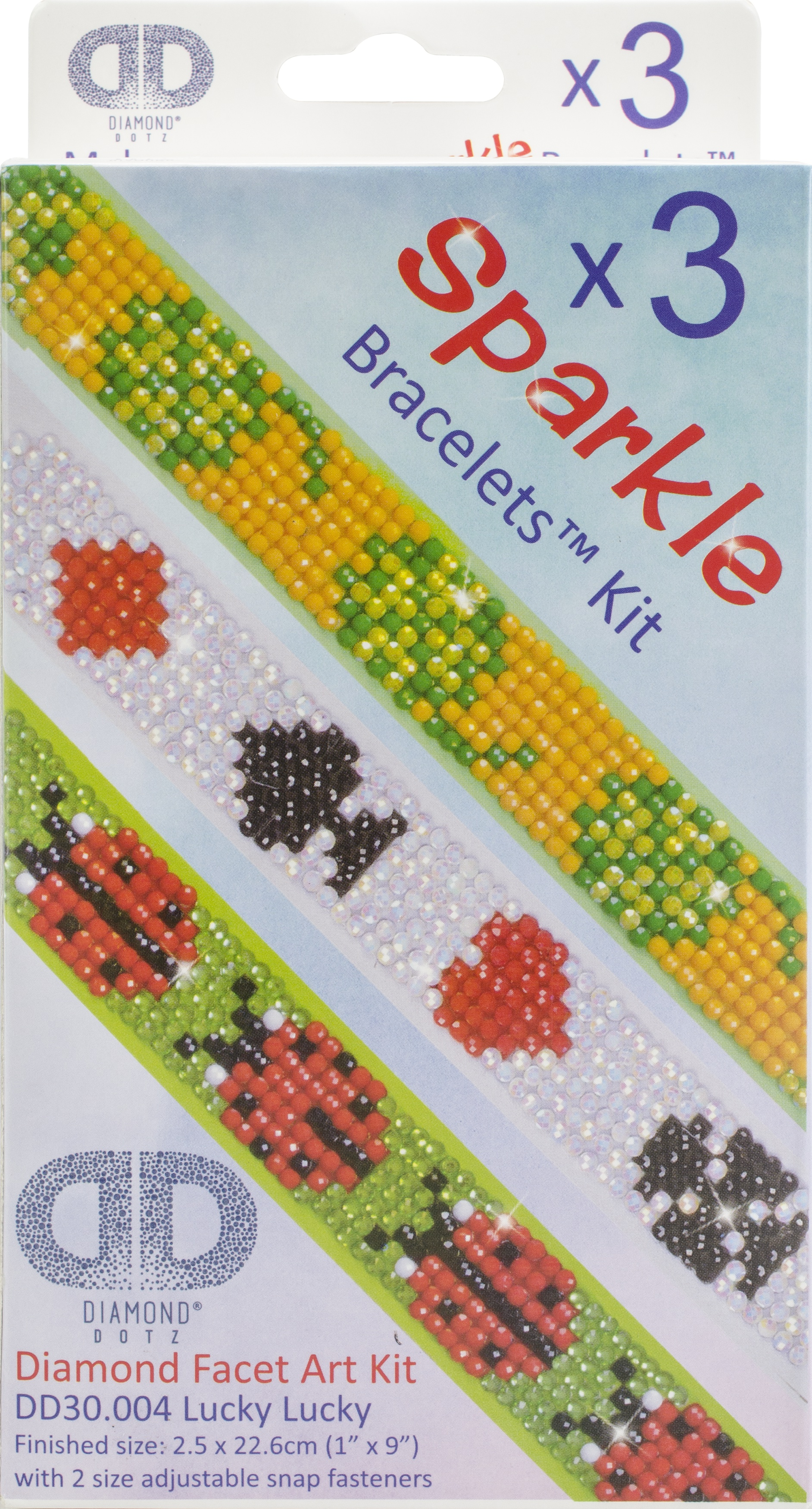 Diamond Dotz Diamond Bracelets Facet Art Kit 1X9-Assorted Lucky Lucky 3/Pkg