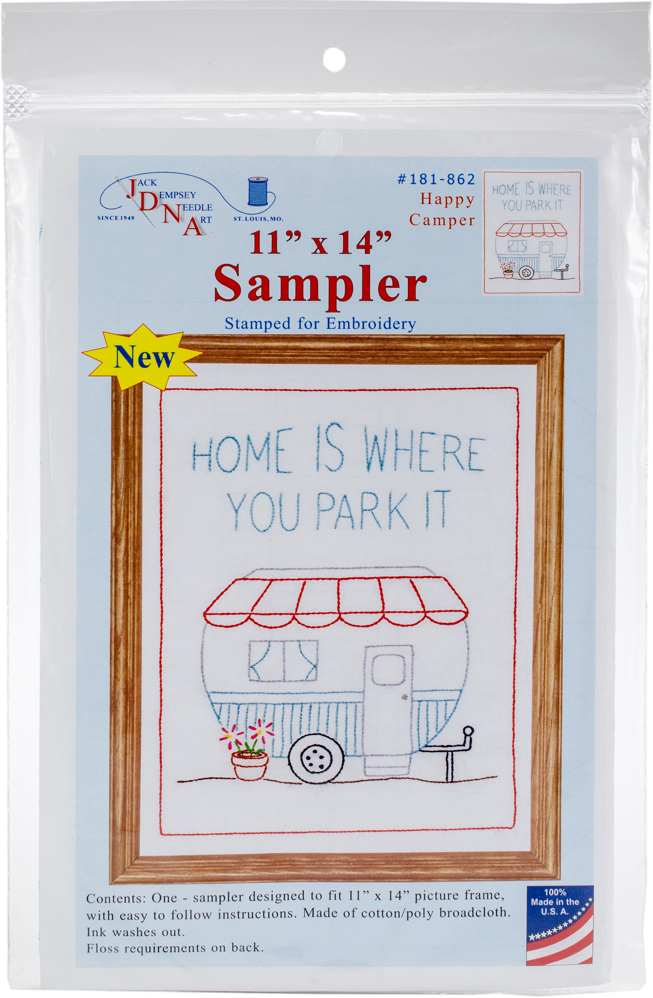 Stamped Embroidery Sampler 11in x 14in - Happy Camper