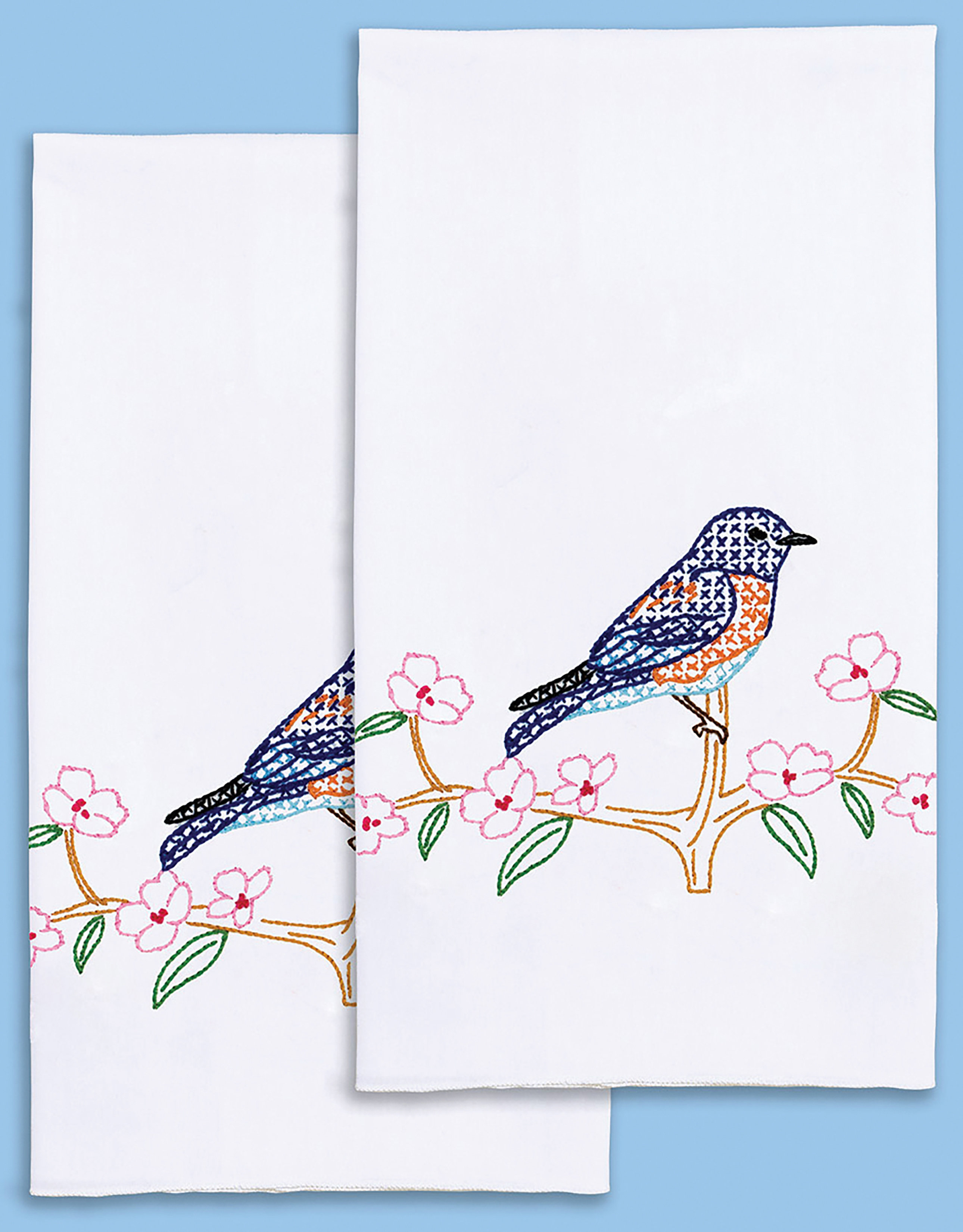Stamped Embroidery Hand Towels - Bluebird