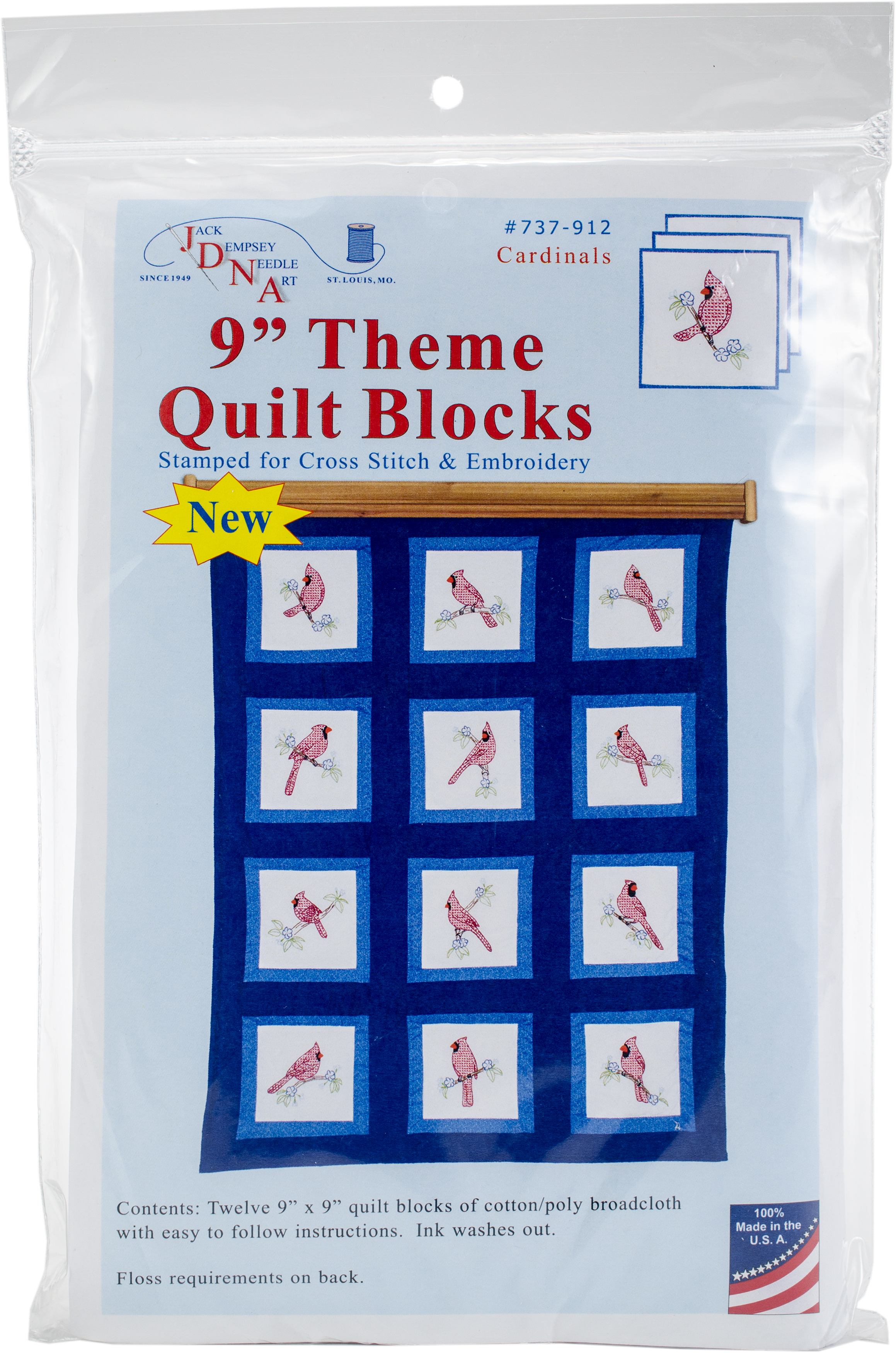 Stamped Embroidery Blocks - 9in - Cardinals