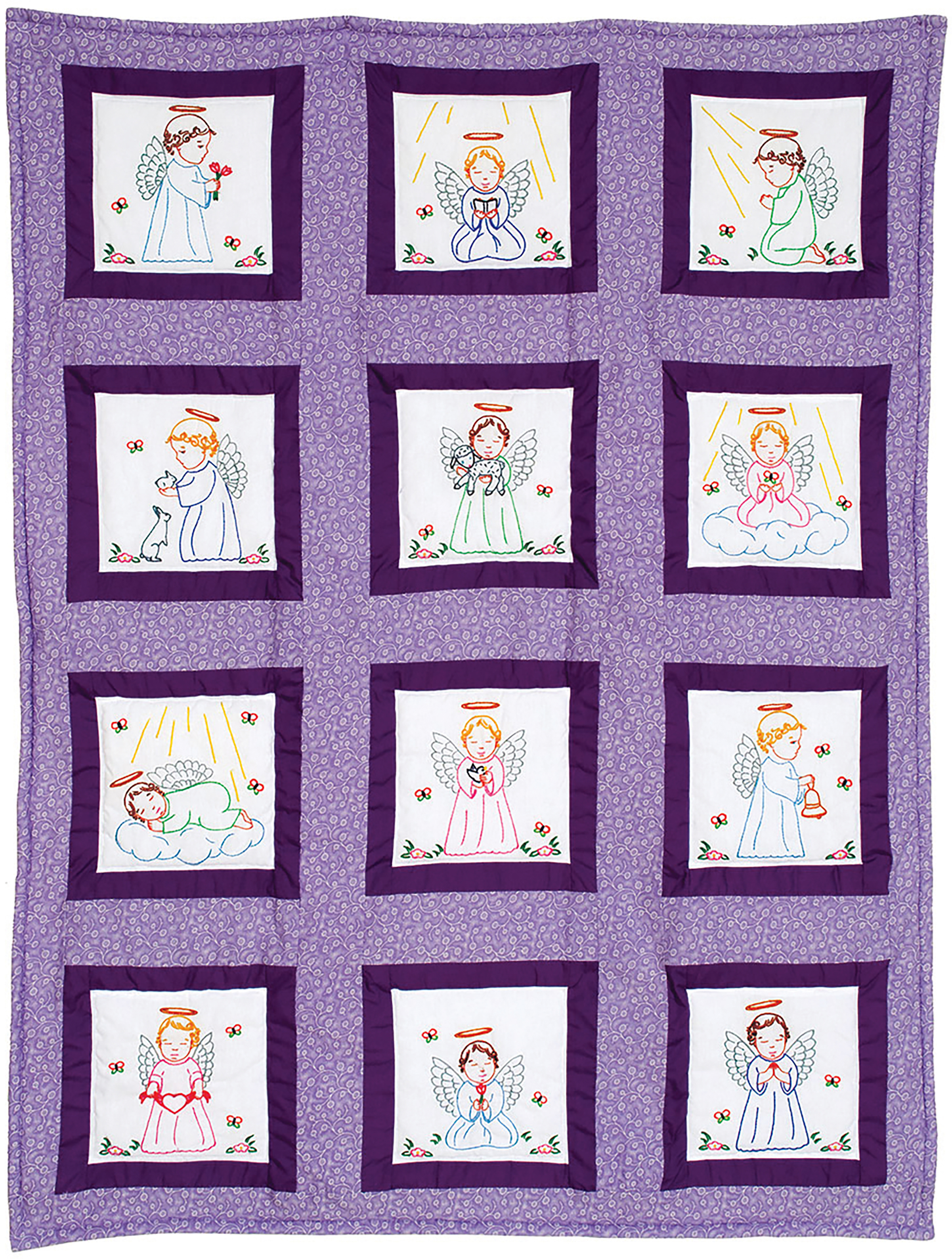 Stamped Embroidery Blocks - 9in - Precious Angels