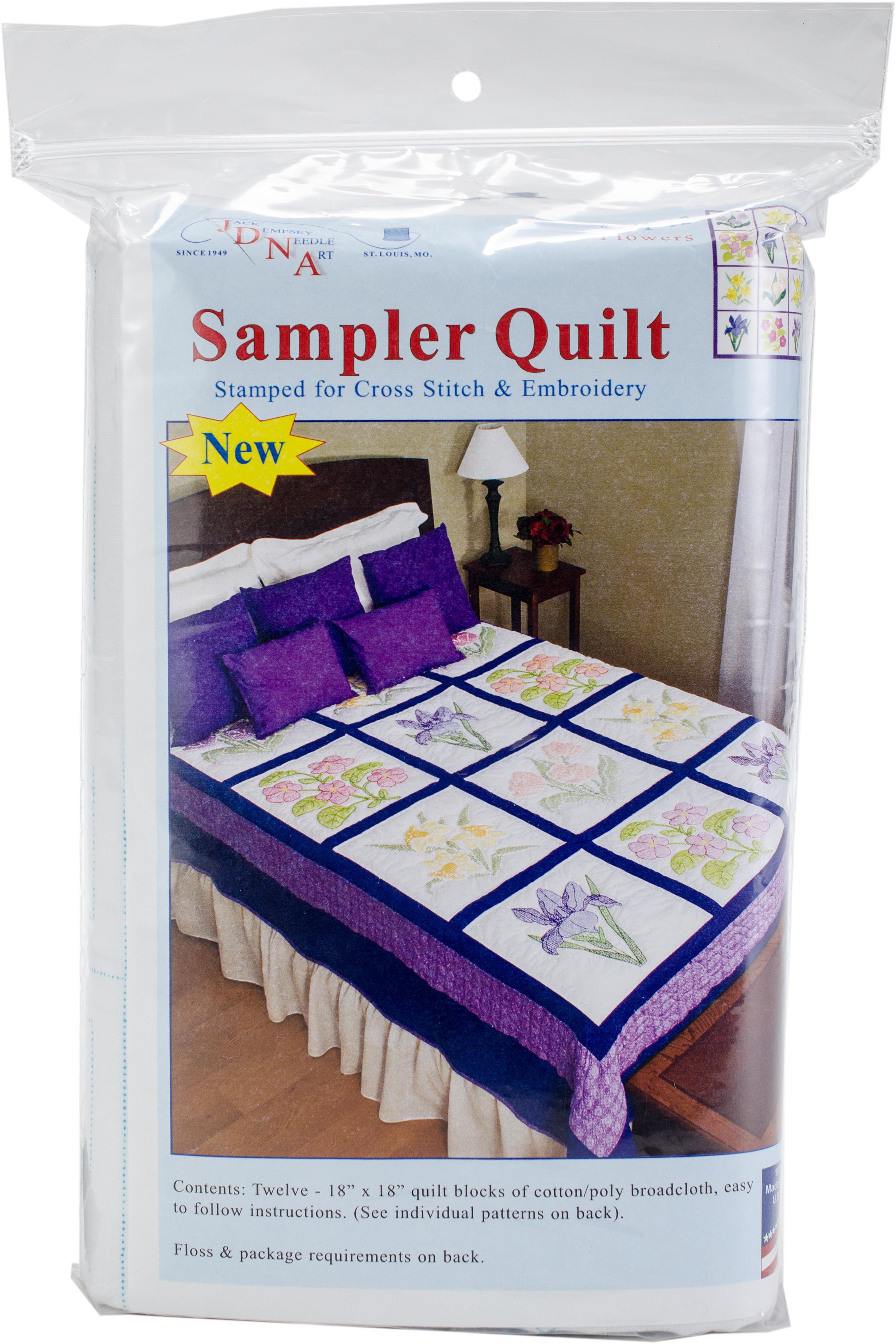 Jack Demspey Stamped Sampler Quilt Blocks 18X18 12/Pkg-Flowers