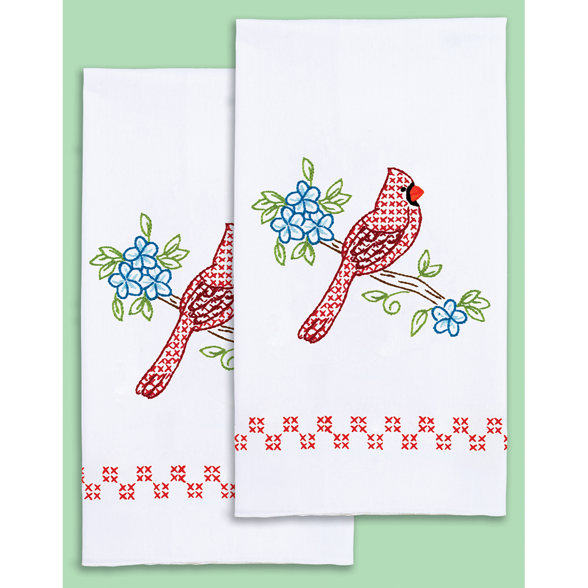Stamped Embroidery Hand Towels - Cardinals