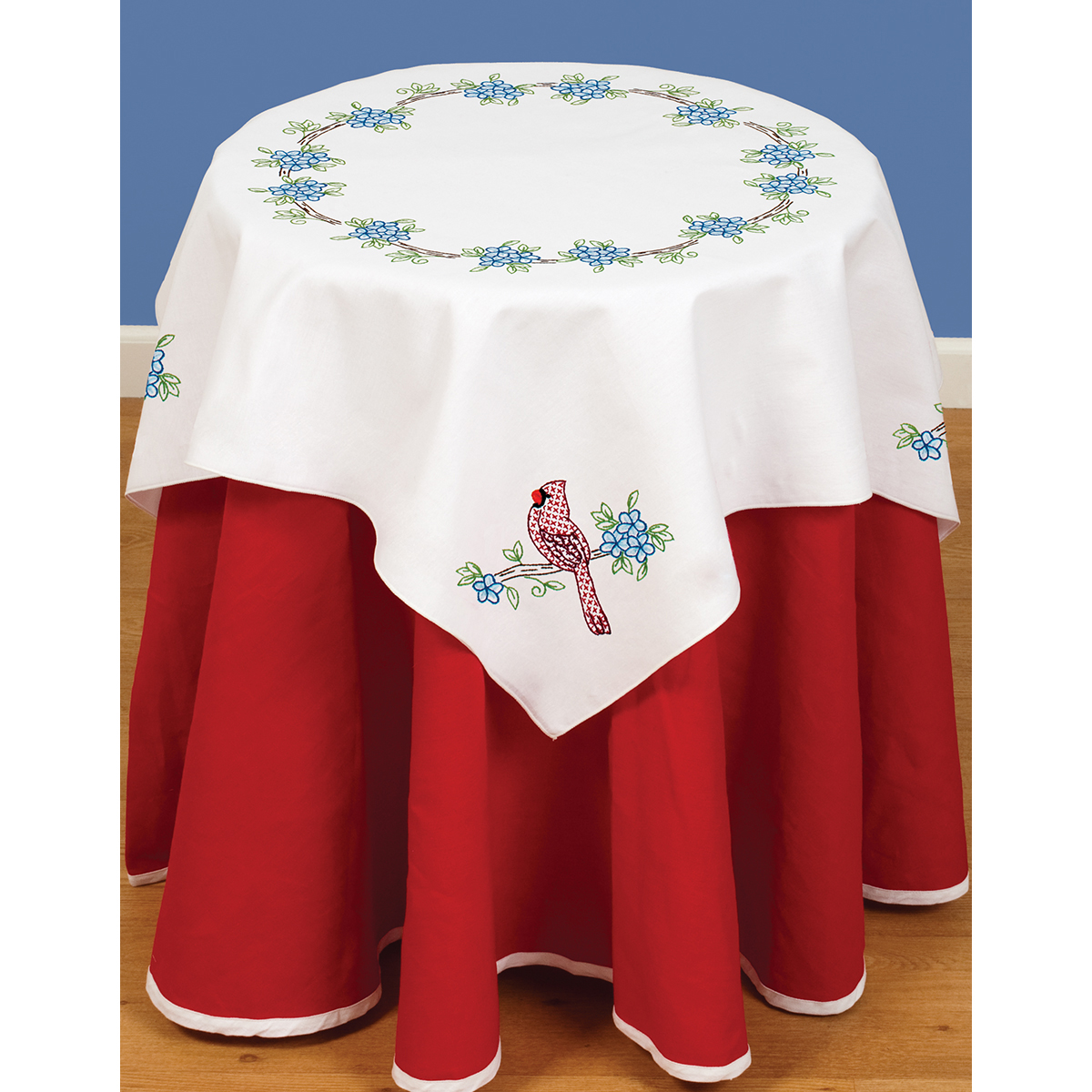 Stamped Embroidery Table Topper - Cardinal