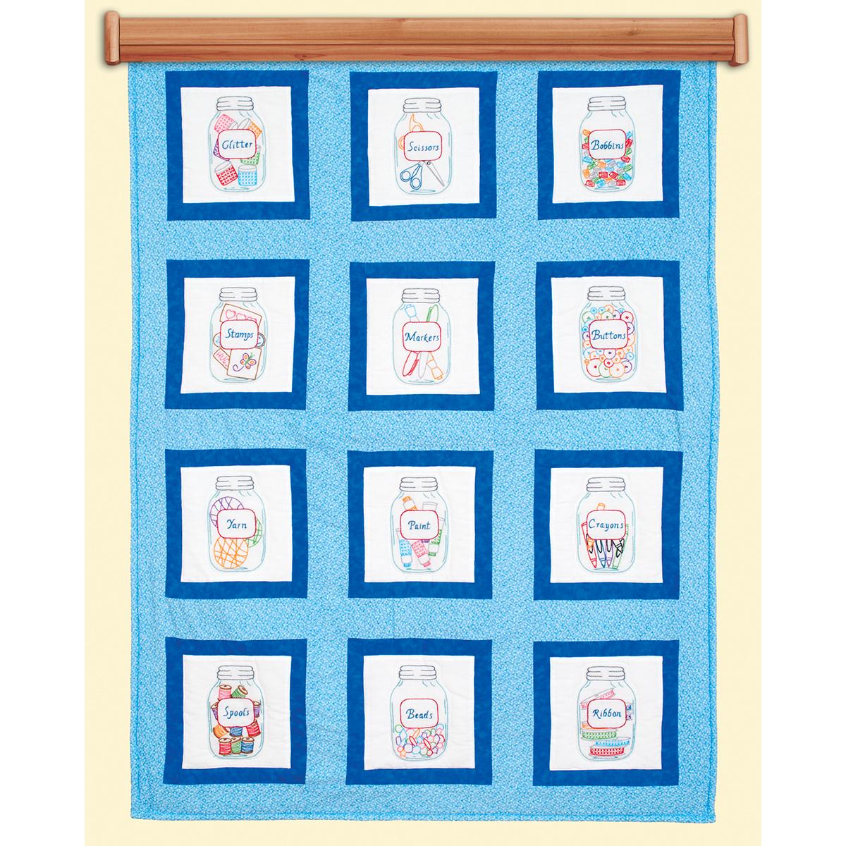 Jack Dempsey Stamped Themed Quilt Blocks 9X9 12/Pkg-Craft Jars