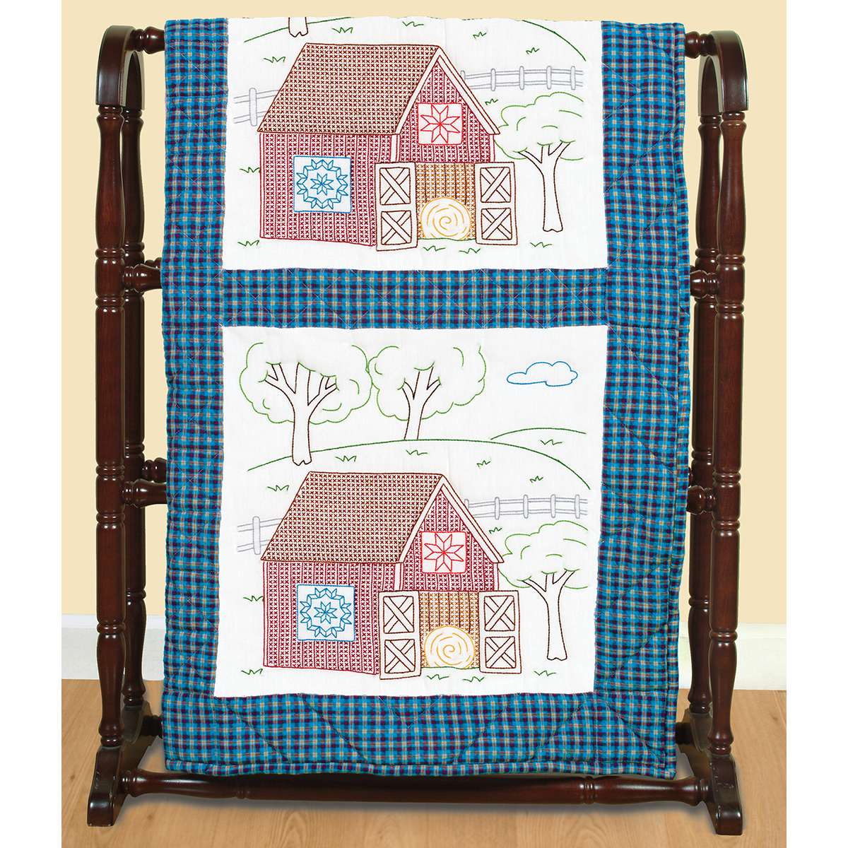 Stamped Embroidery Blocks - 18in - Barns